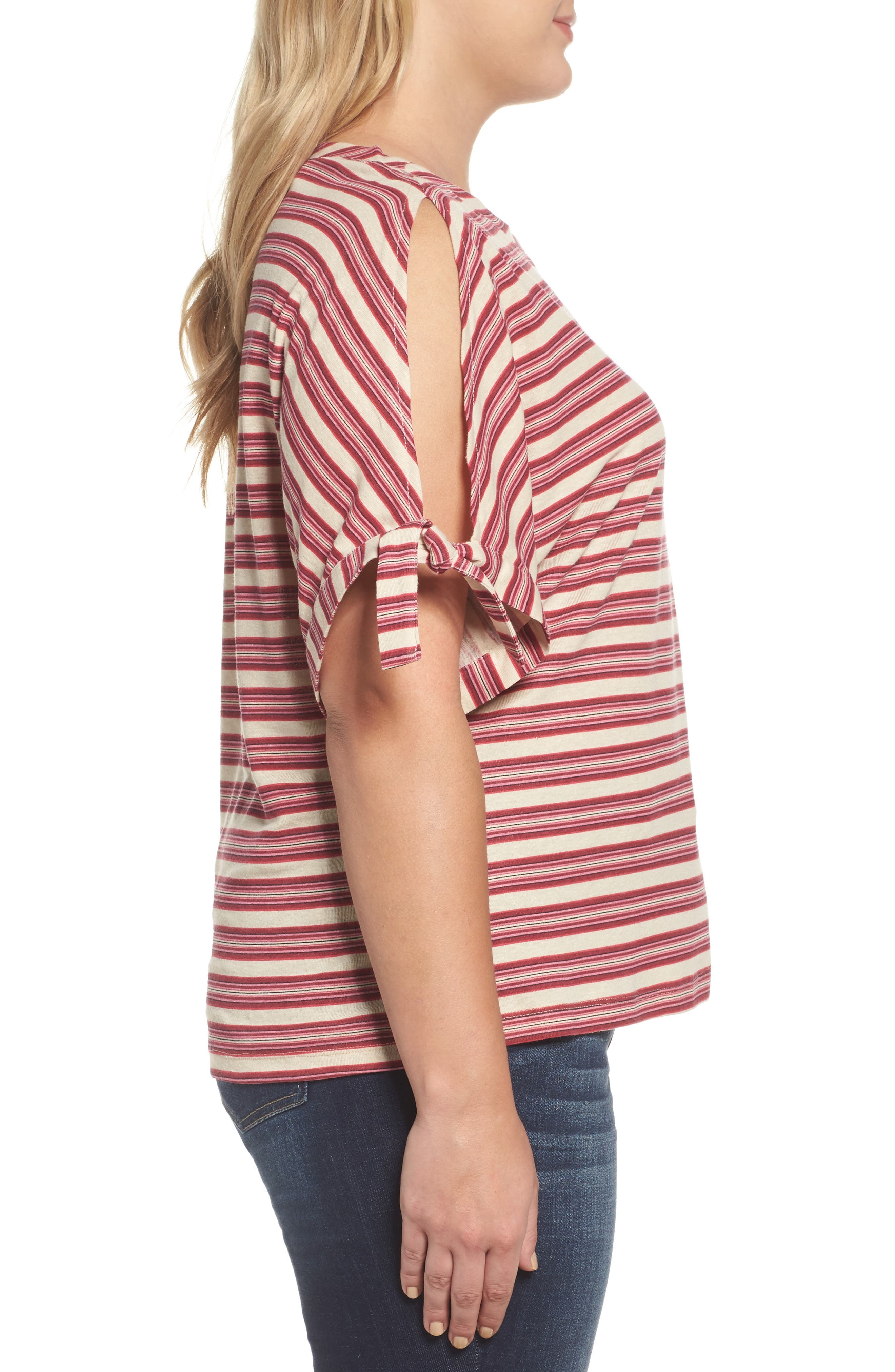 Stripe Tie Sleeve Tee,                             Alternate thumbnail 3, color,                             Rhubarb