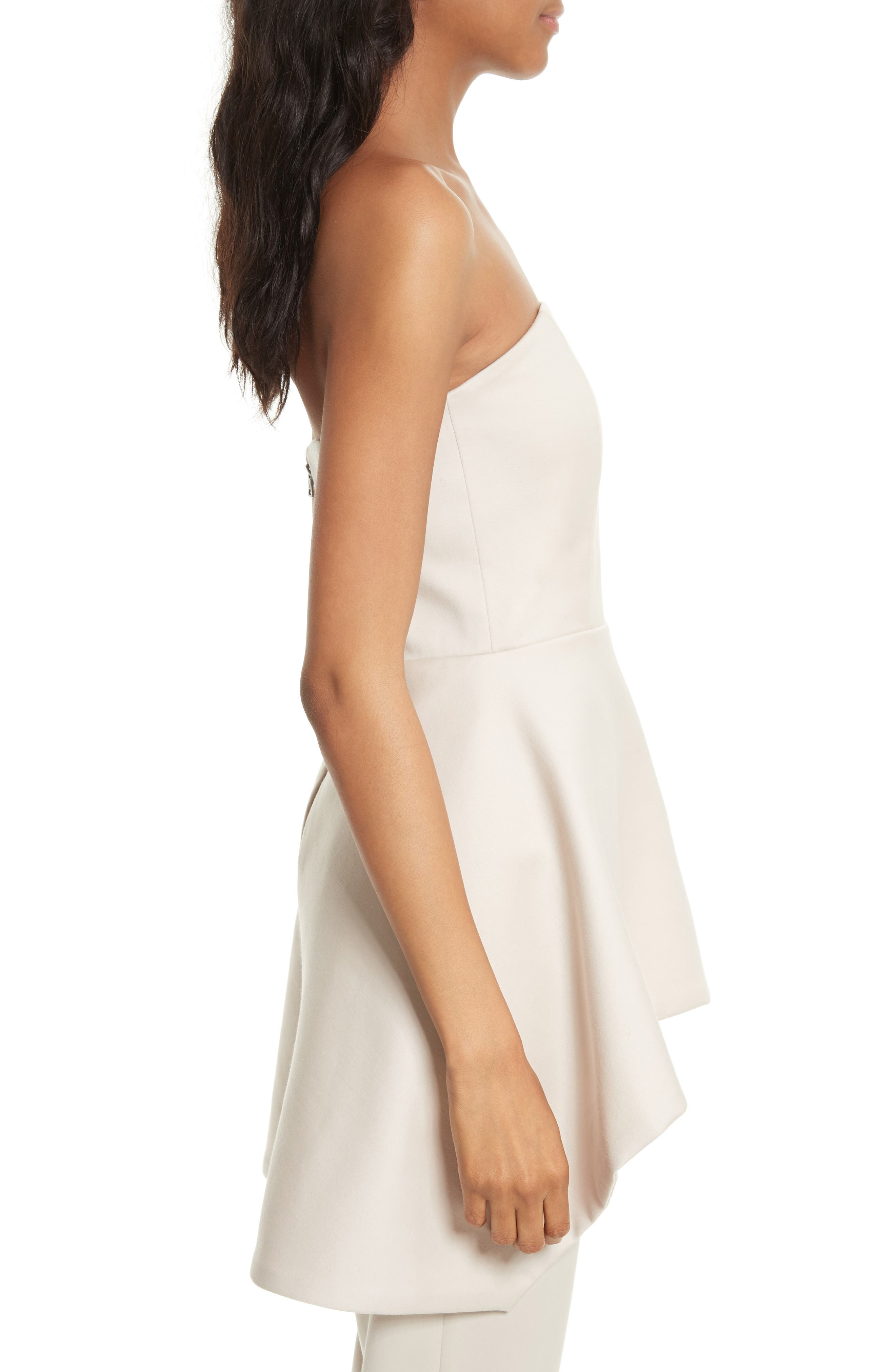 Duncan Strapless High/Low Peplum Top,                             Alternate thumbnail 4, color,                             Pale Nude