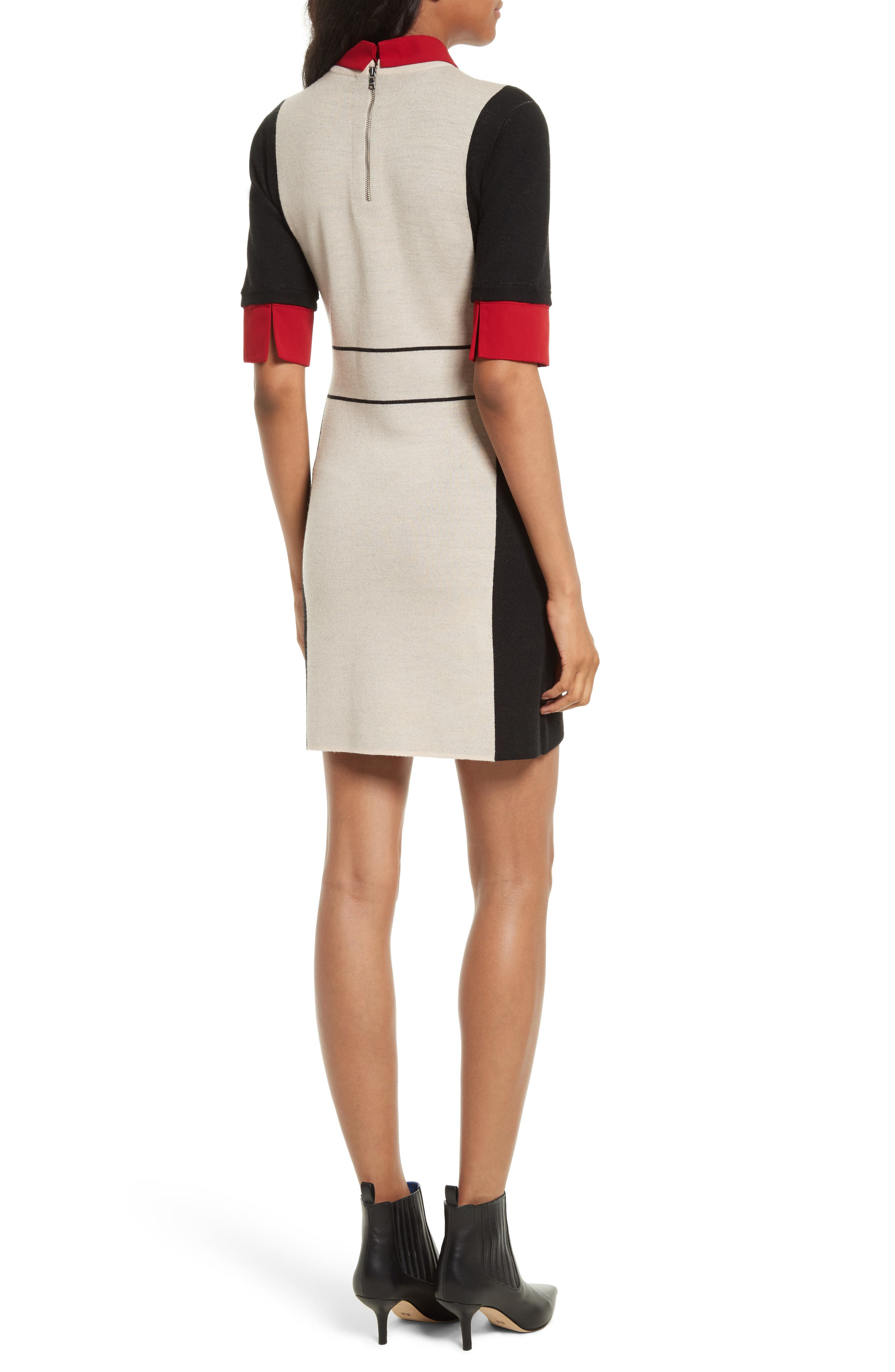 Mia Contrast Trim Sweater Dress,                             Alternate thumbnail 2, color,                             Black/ Natural/ Red