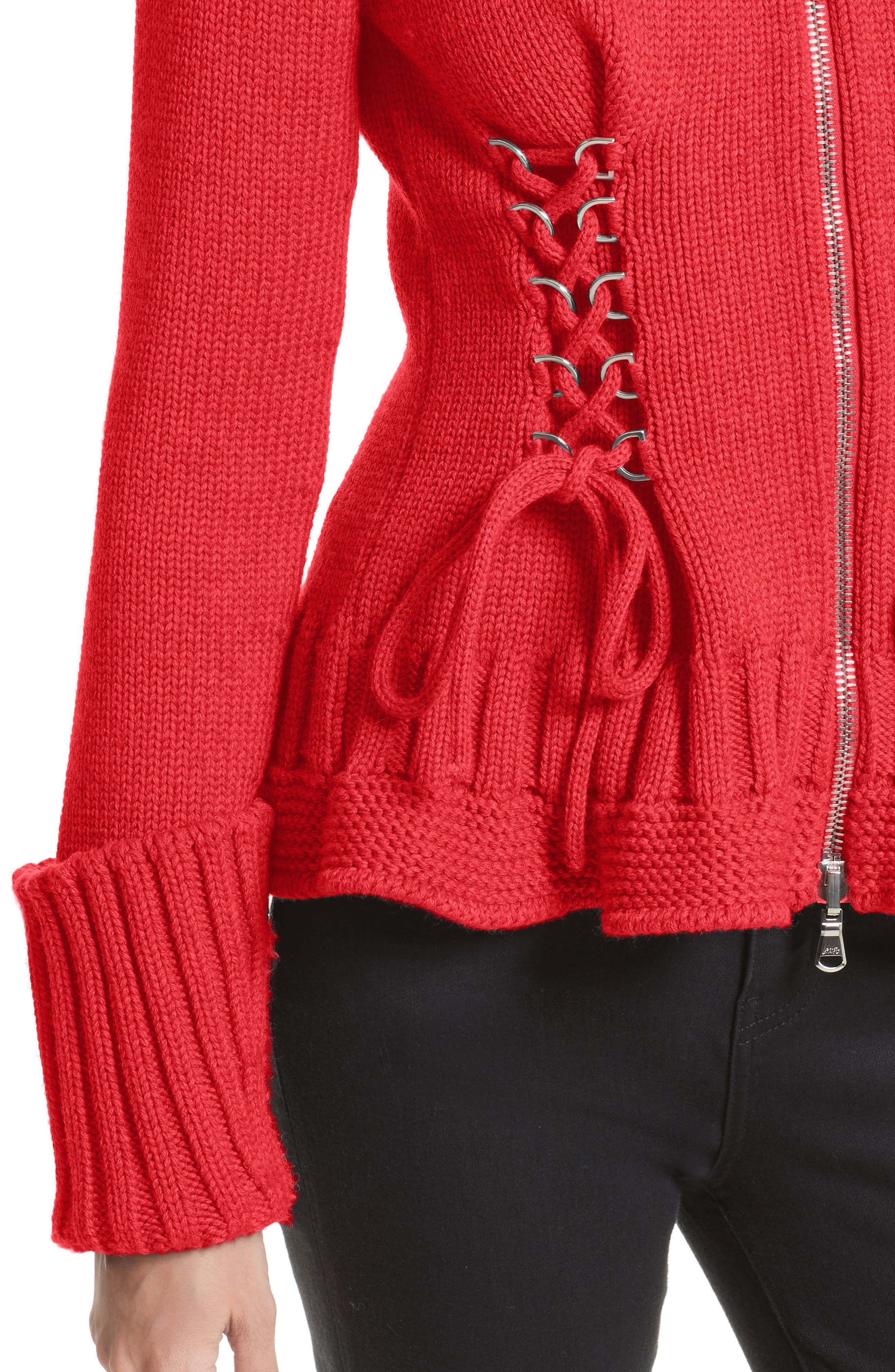 Lace-Up Wool Cardigan,                             Alternate thumbnail 6, color,                             Scarlet Red