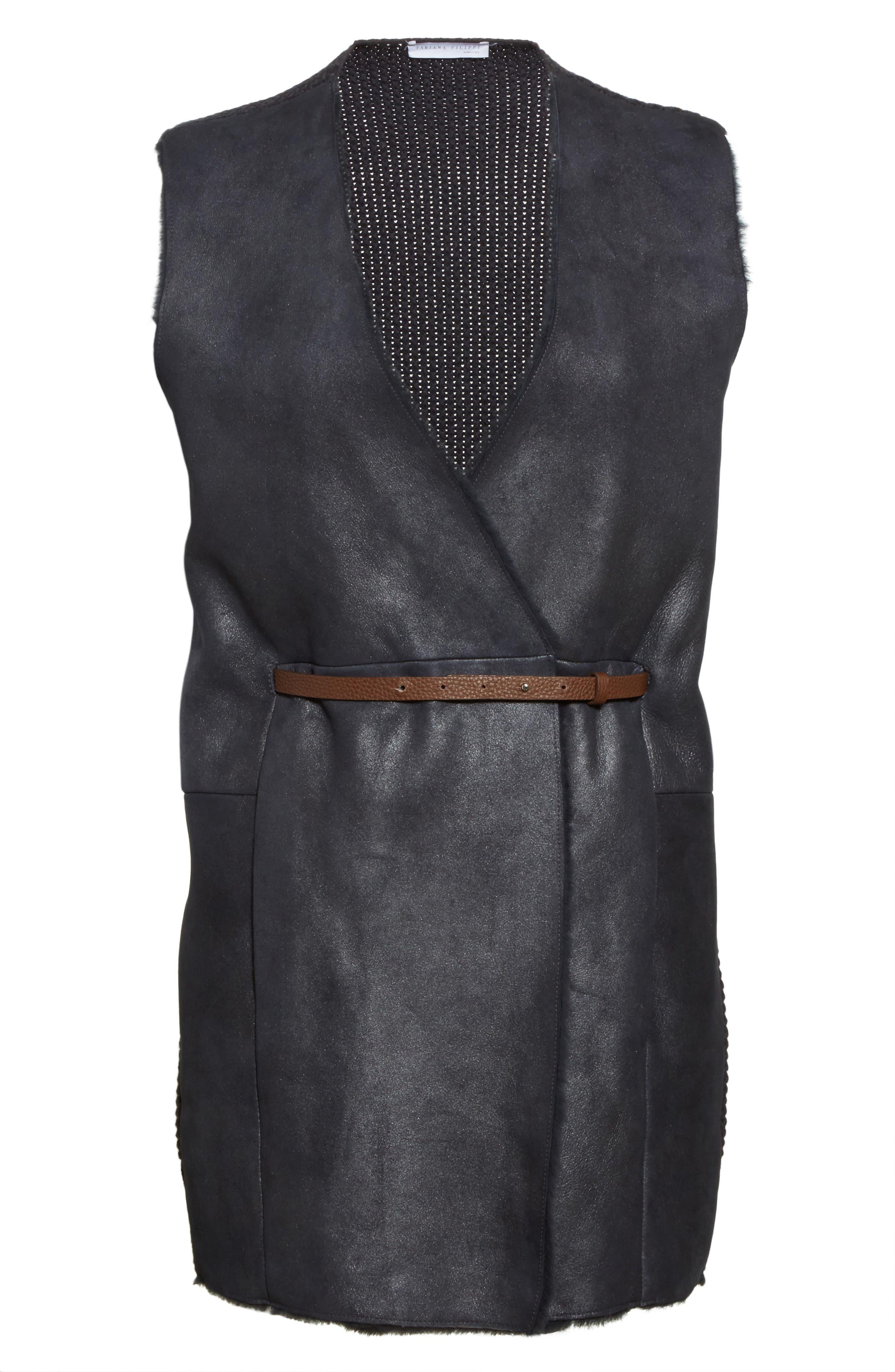 Alternate Image 4  - Fabiana Filippi Genuine Shearling Front Knit Vest