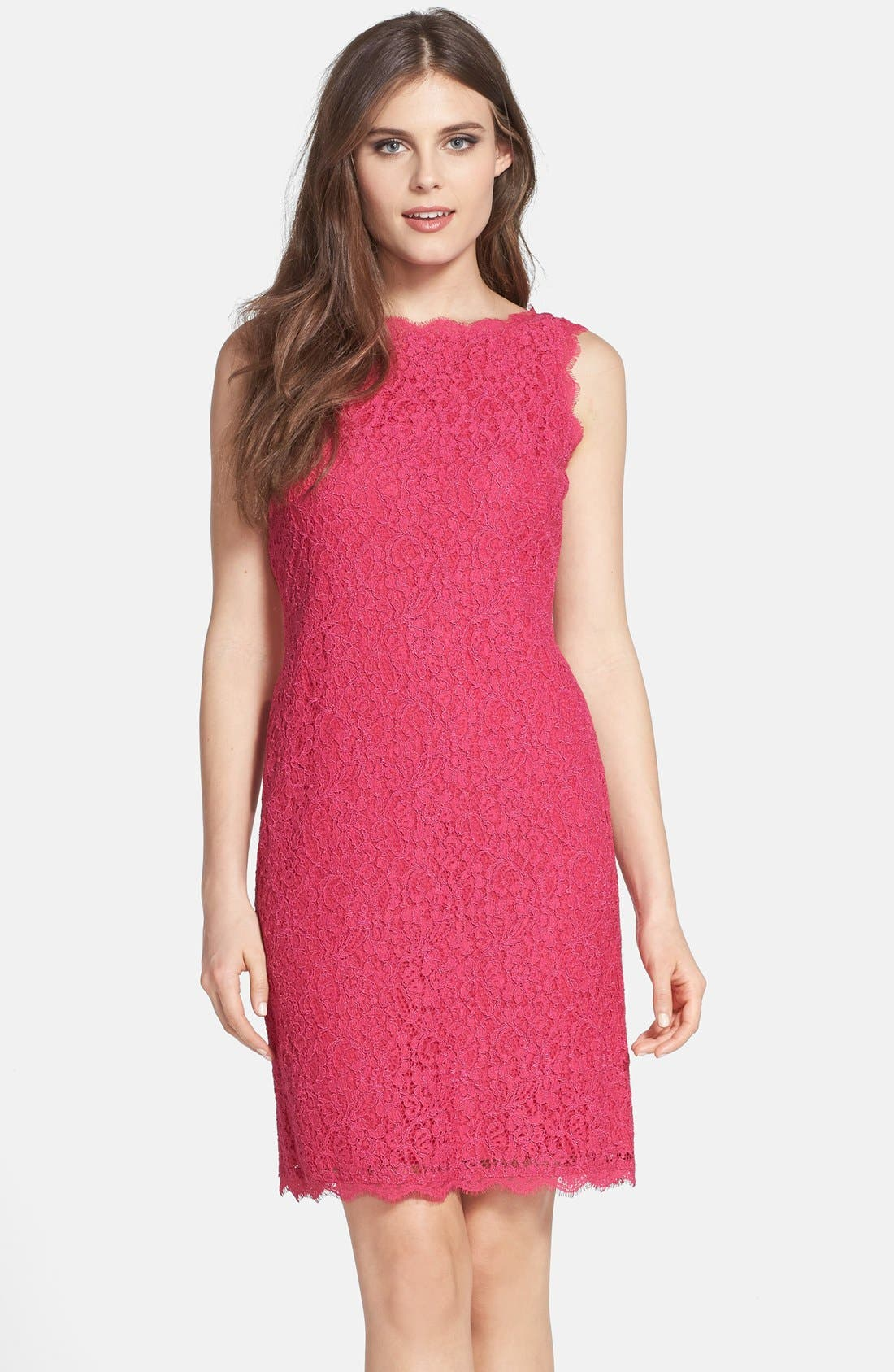 Boatneck Lace Sheath Dress,                             Main thumbnail 1, color,                             Fuchsia