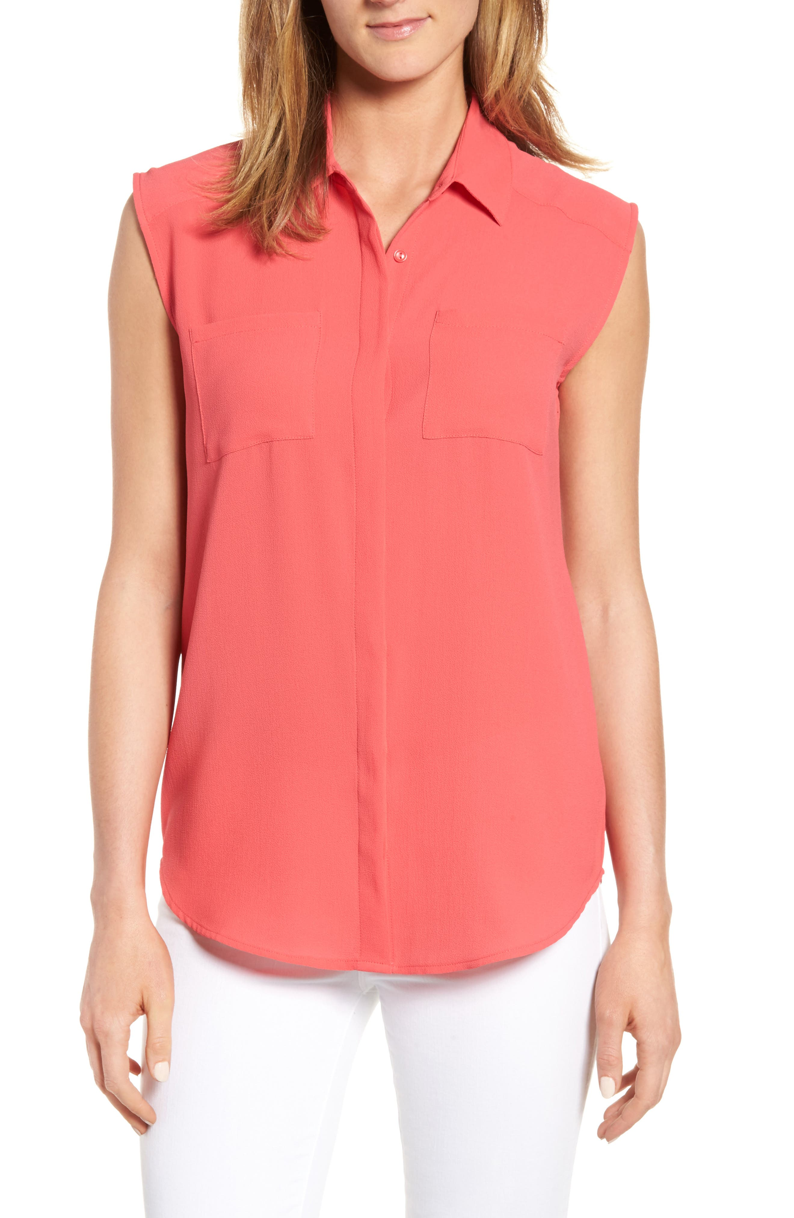 Halogen® Crepe Shirt (Regular & Petite)