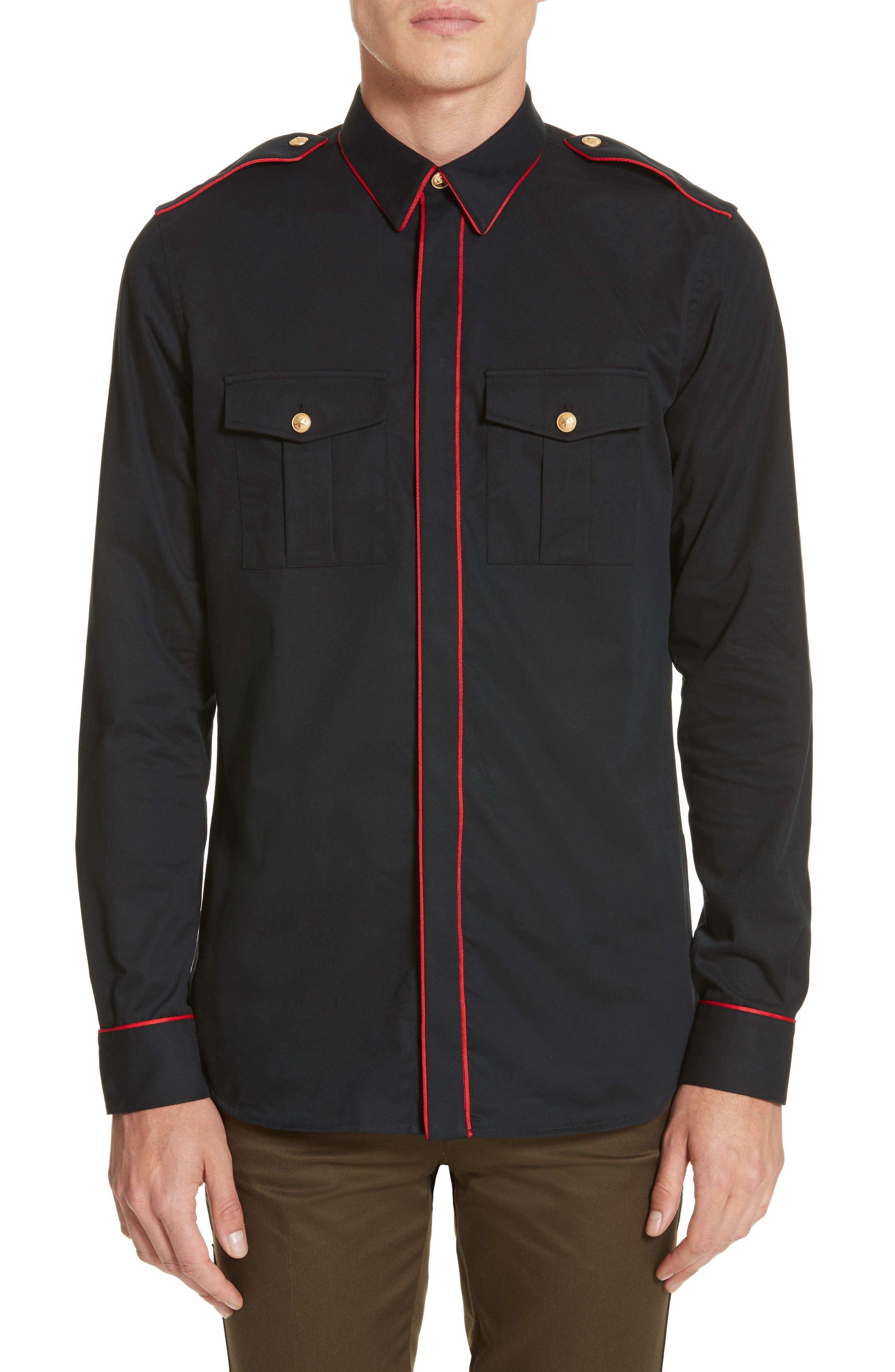 Piped Officer Shirt,                             Main thumbnail 1, color,                             Black