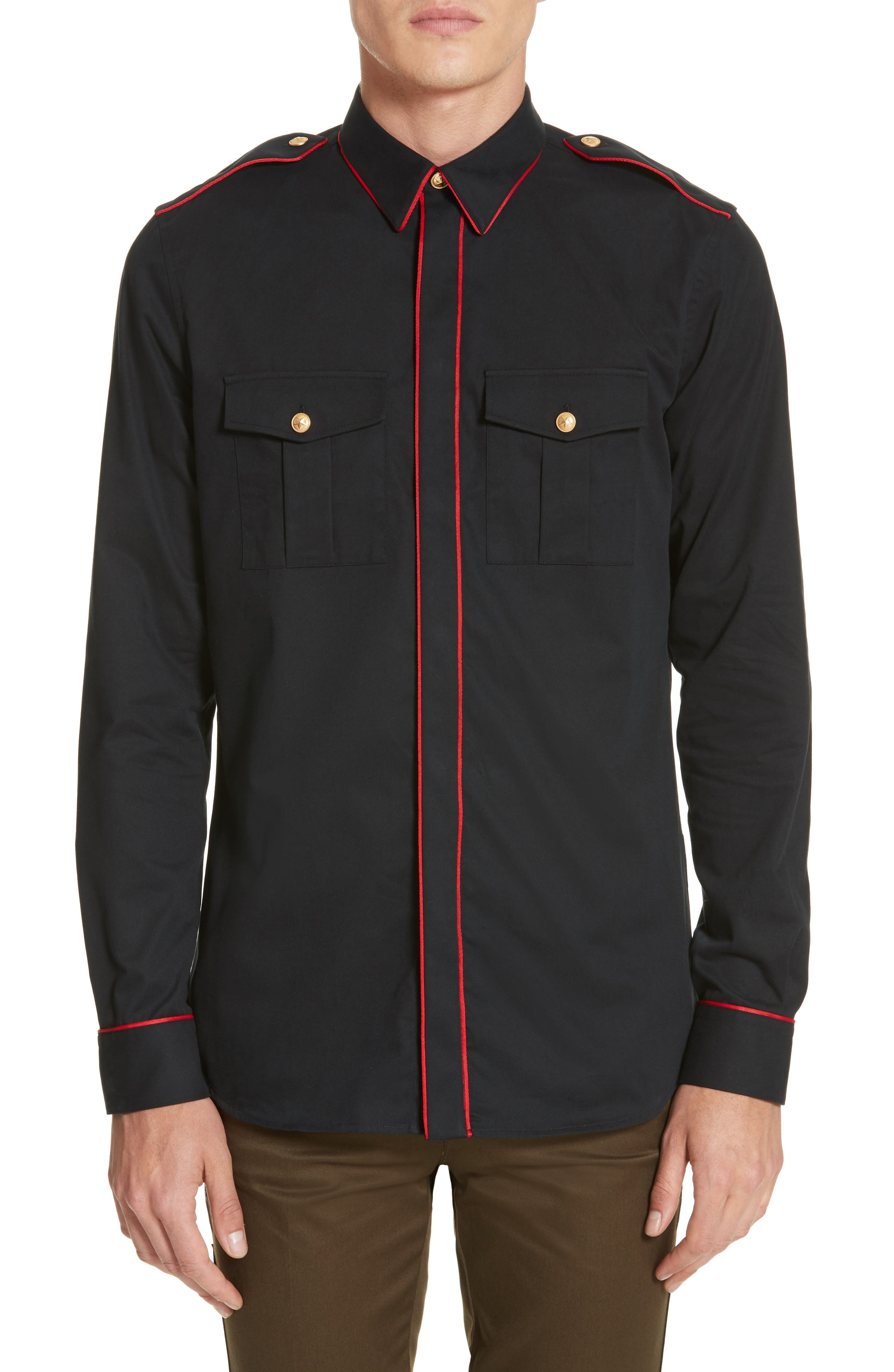 Piped Officer Shirt,                         Main,                         color, Black