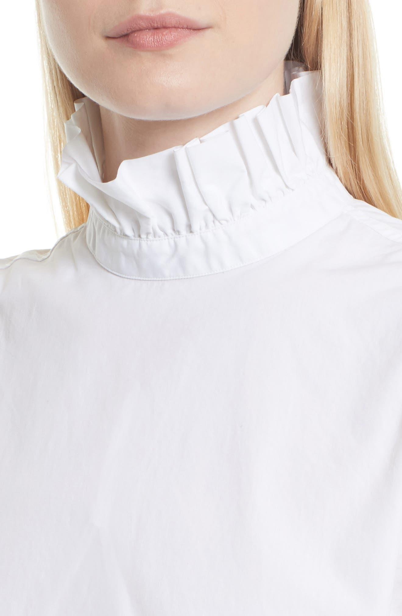 Cotton Blouse,                             Alternate thumbnail 5, color,                             Blanc