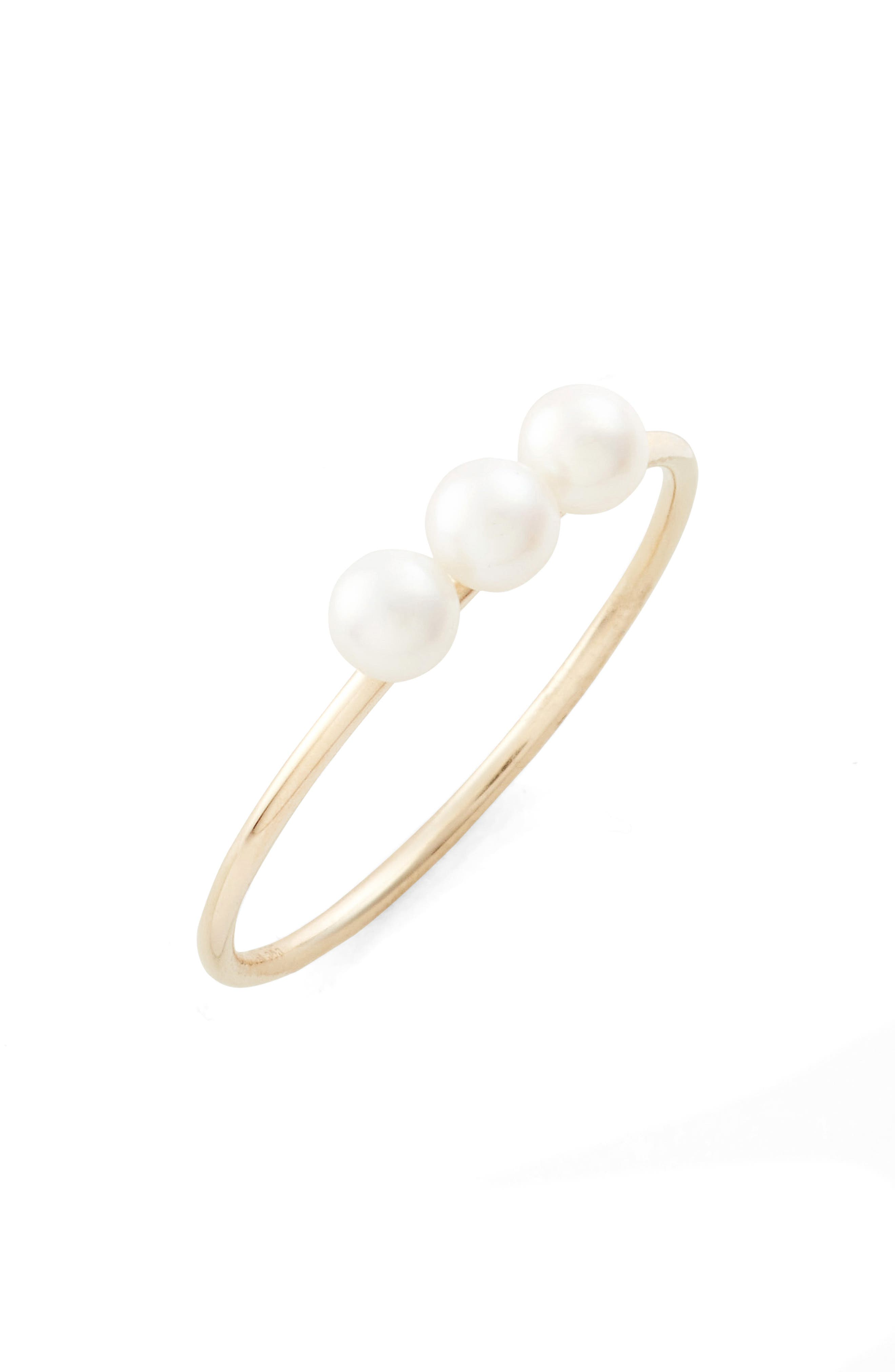 Pearl Stacking Ring,                         Main,                         color, Yellow Gold