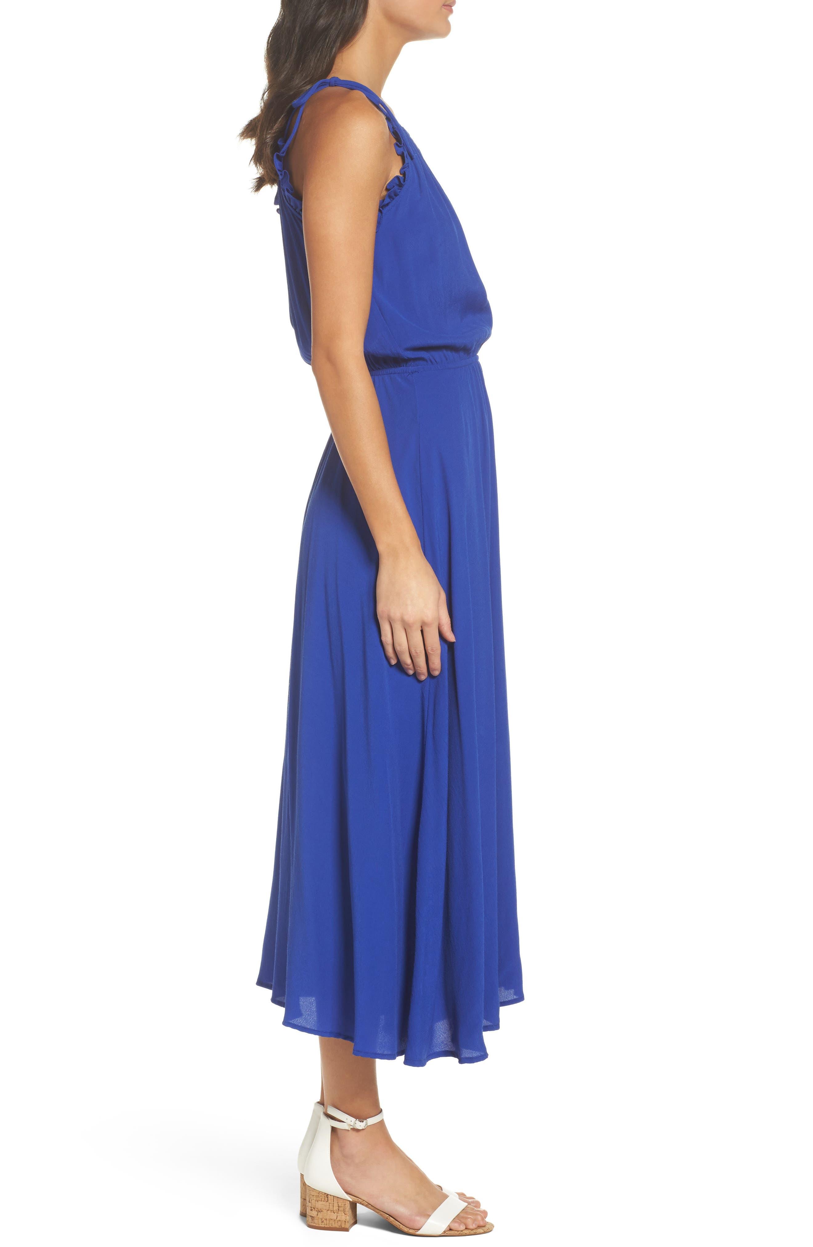 Halter Midi Dress,                             Alternate thumbnail 3, color,                             Blue