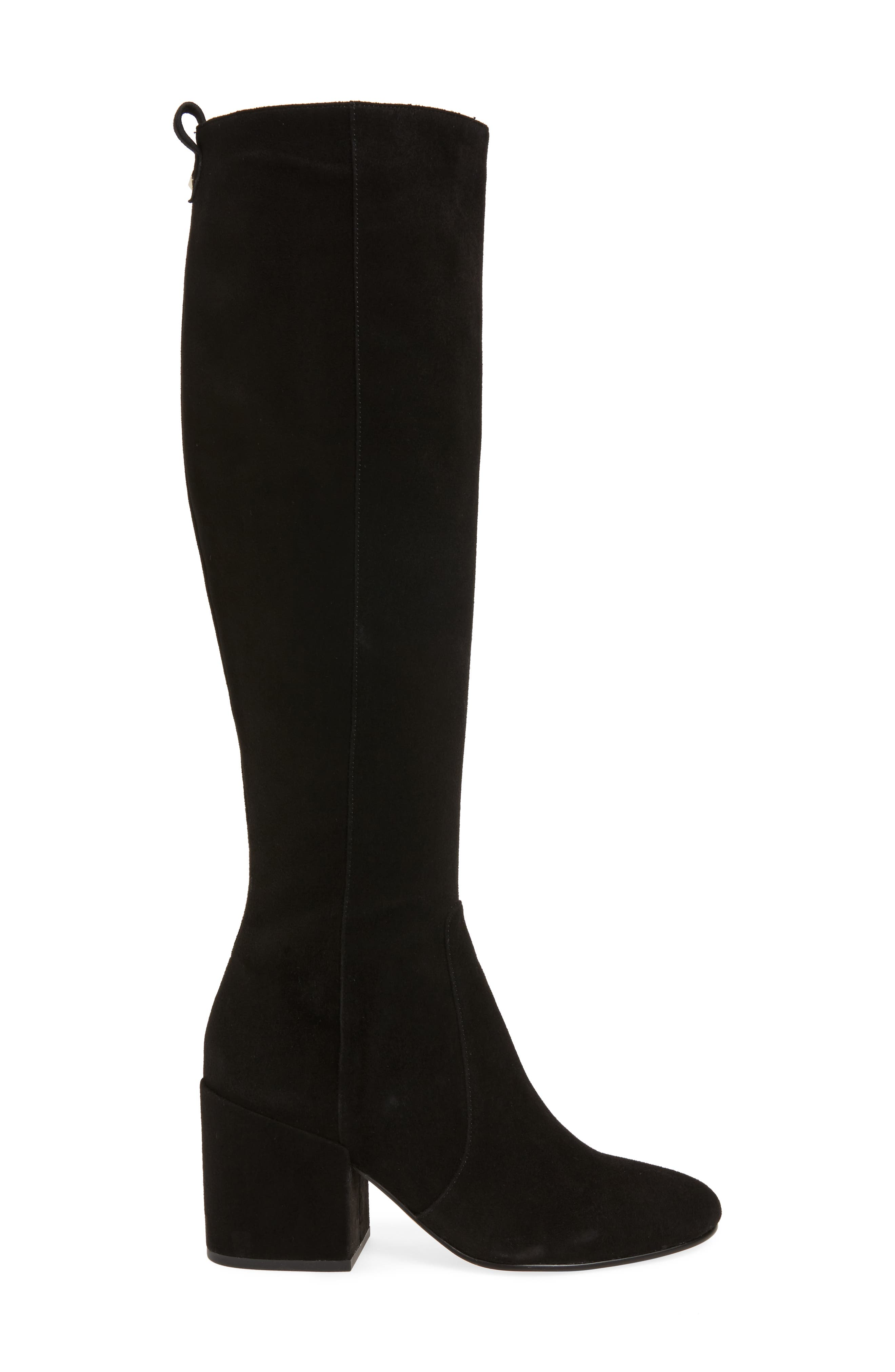Thora Knee High Boot,                             Alternate thumbnail 3, color,                             Black Leather
