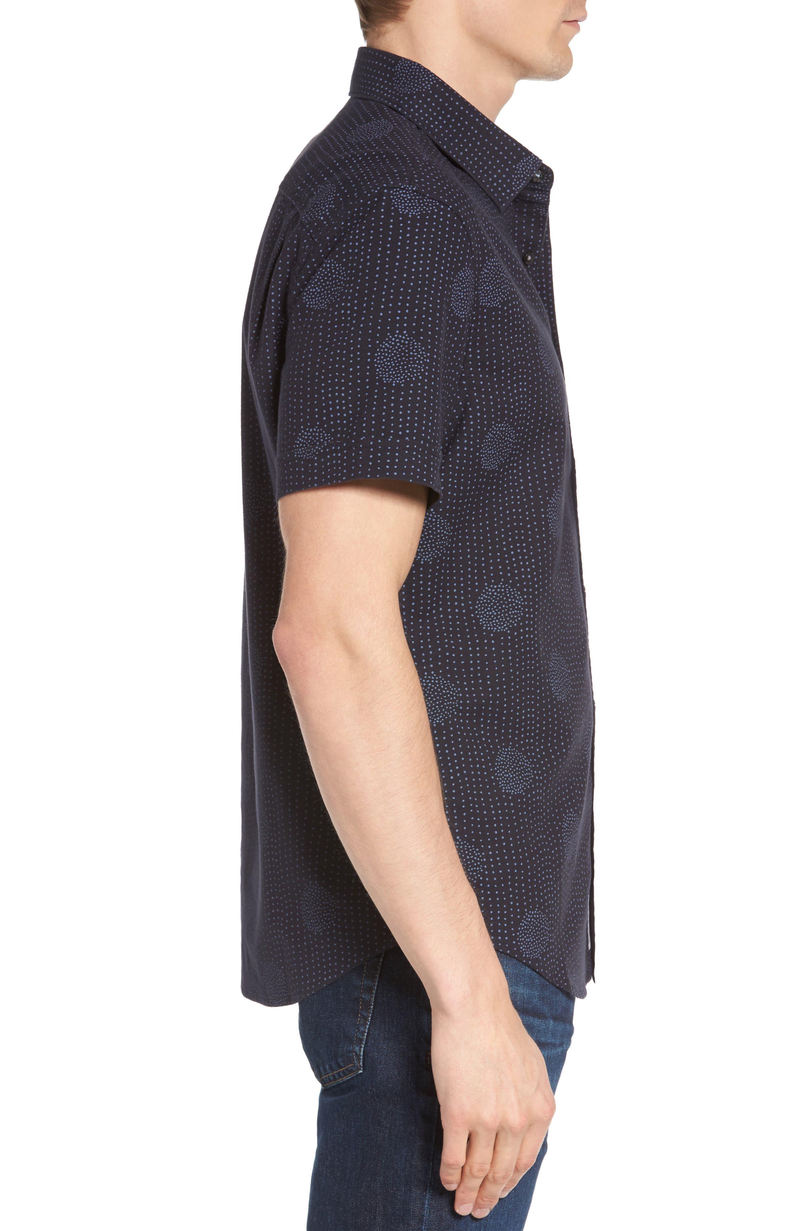 Heritage Slim Fit Dot Print Shirt,                             Alternate thumbnail 3, color,                             Dark Sapphire