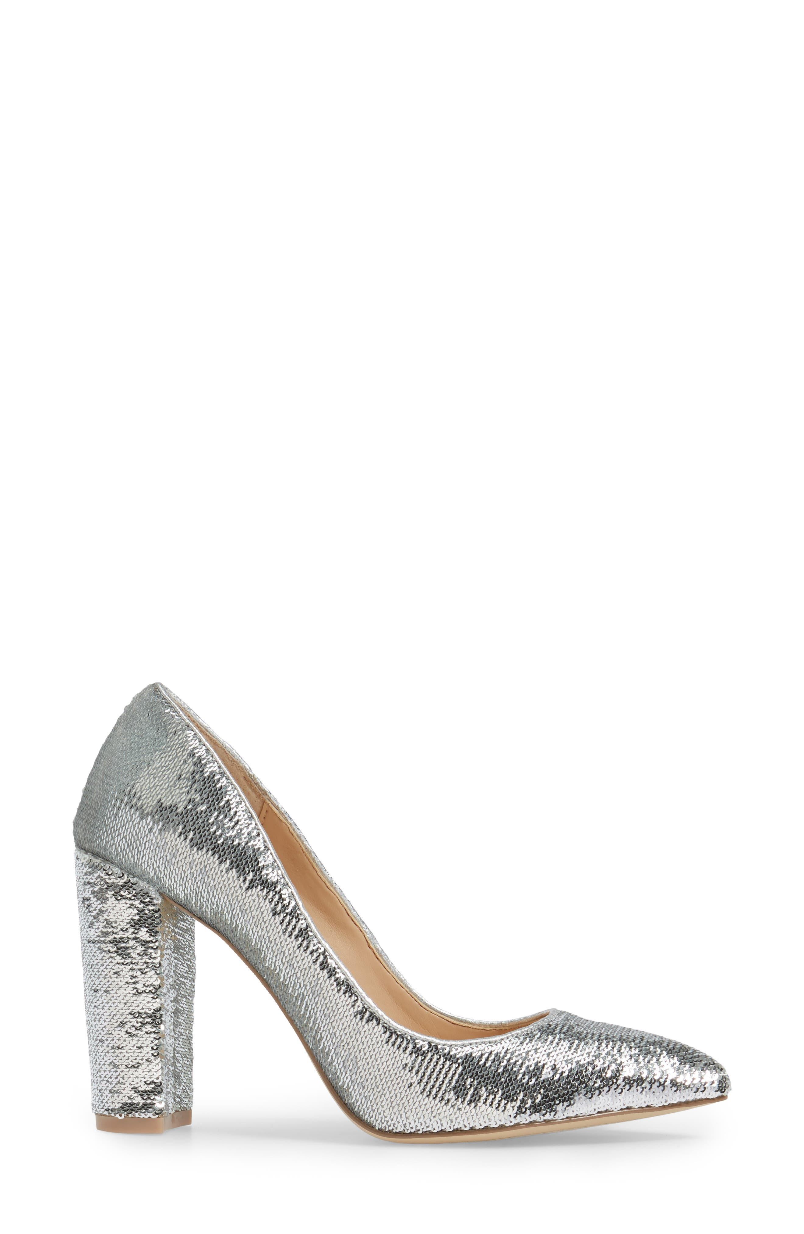 Luxury Pointy Toe Pump,                             Alternate thumbnail 3, color,                             Silver Leather