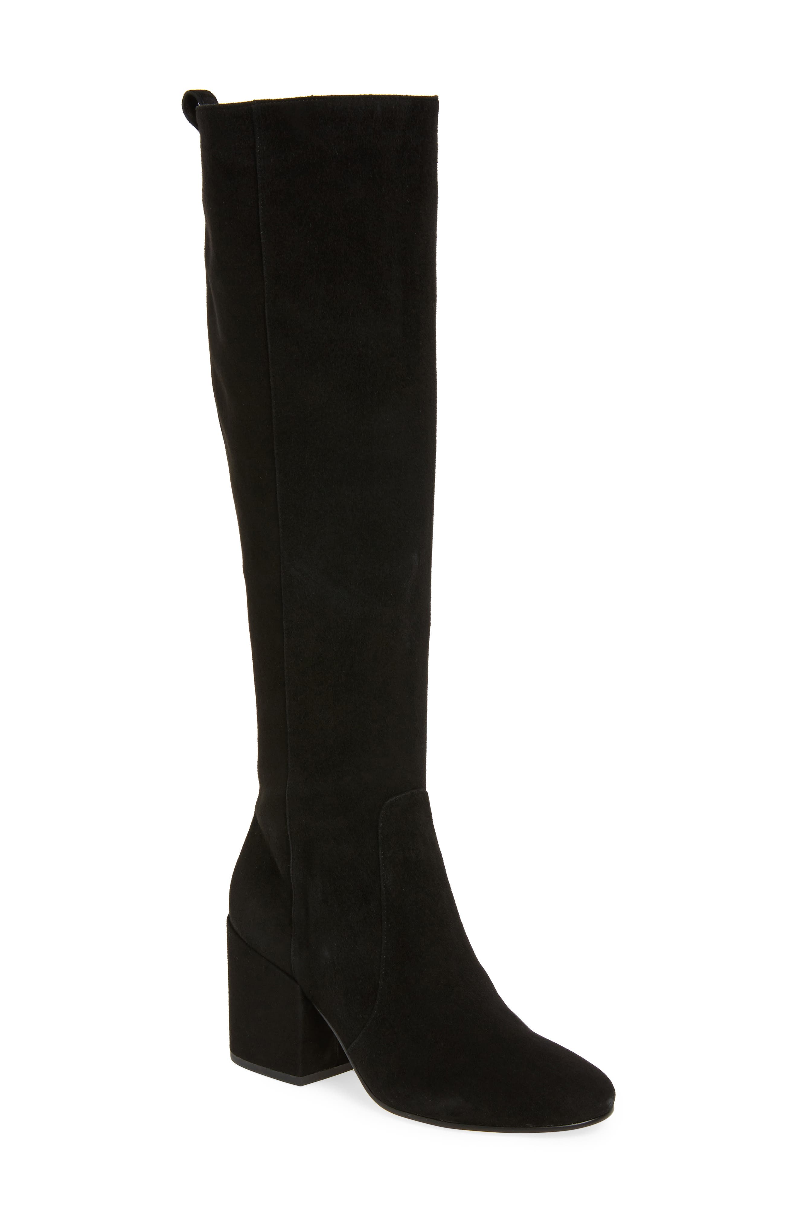 Thora Knee High Boot,                         Main,                         color, Black Leather