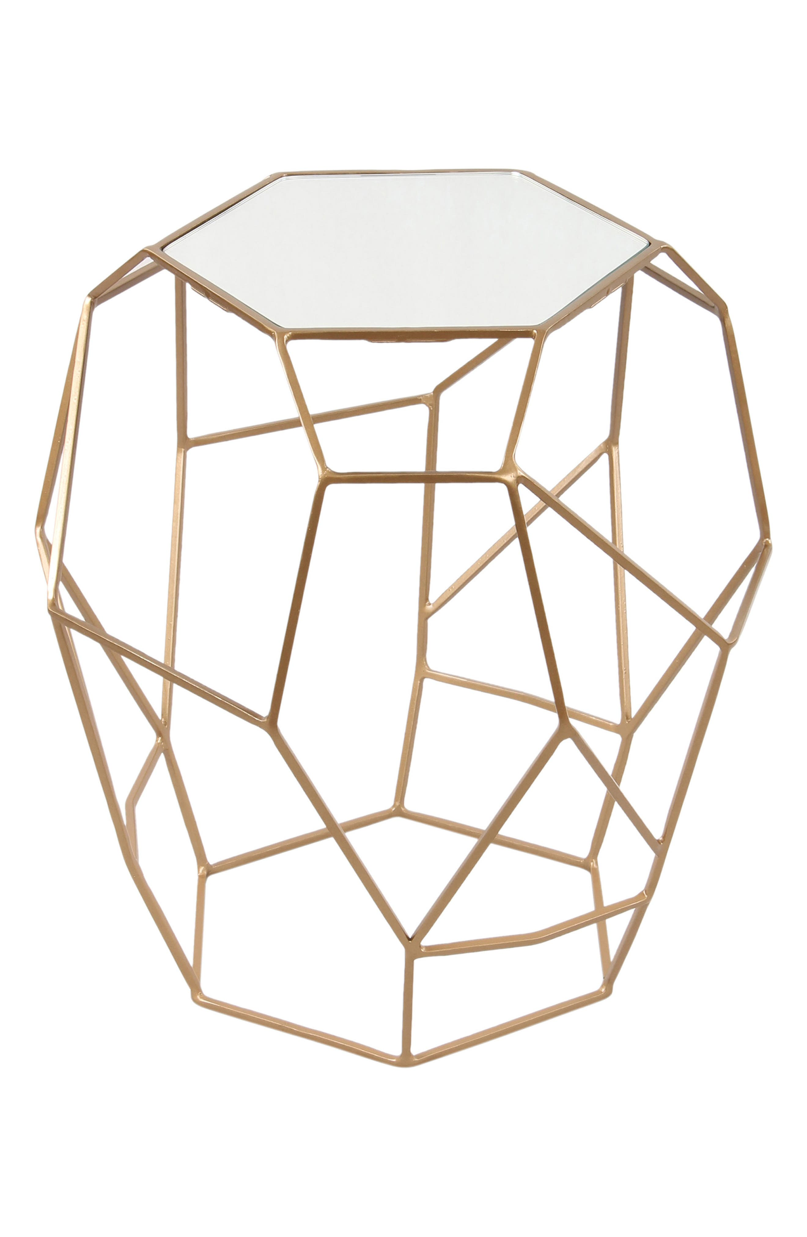 Iron & Glass Accent Table,                         Main,                         color, Gold Powder Coated