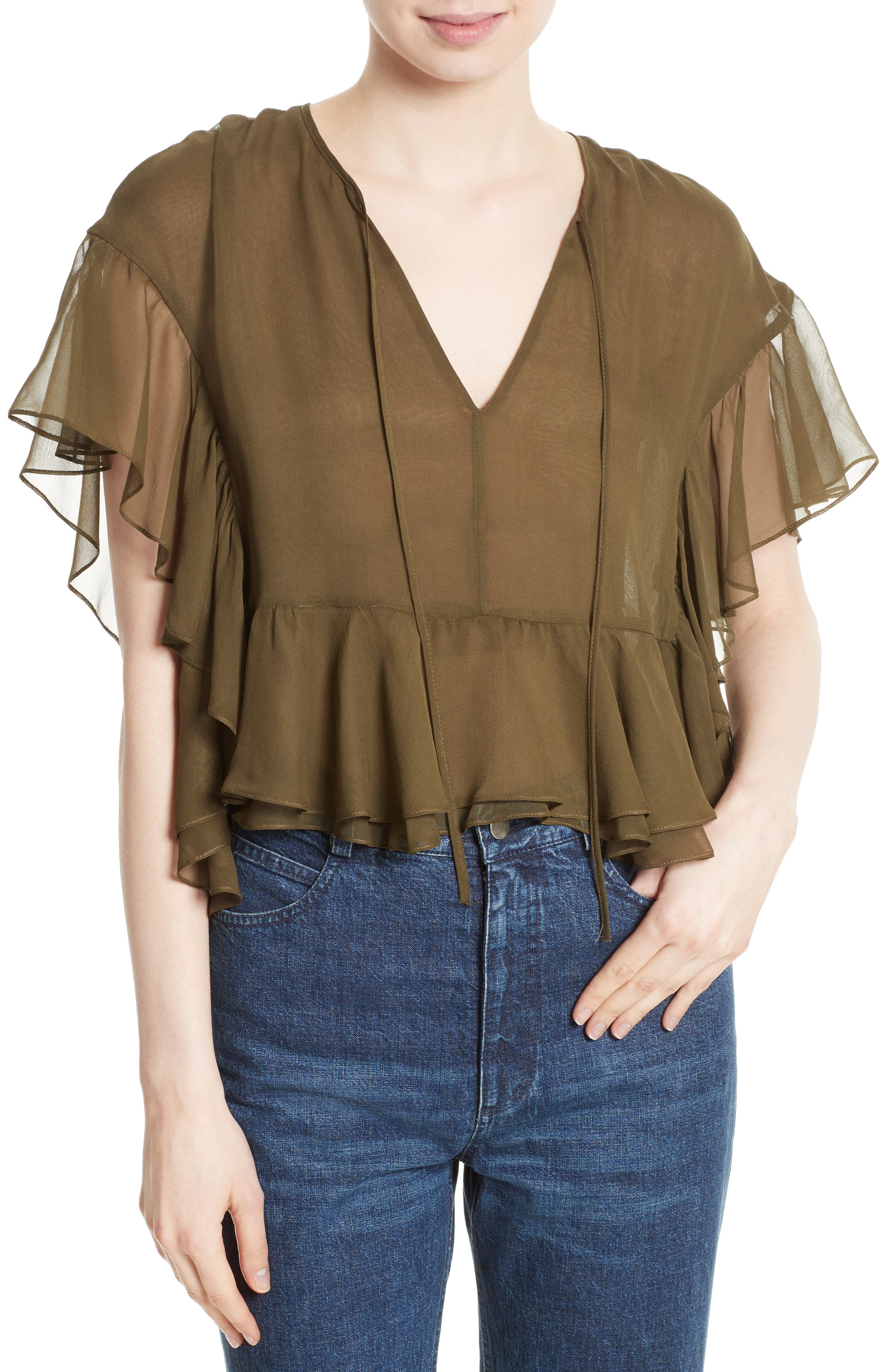 Floater Ruffle Silk Top,                         Main,                         color, Olive