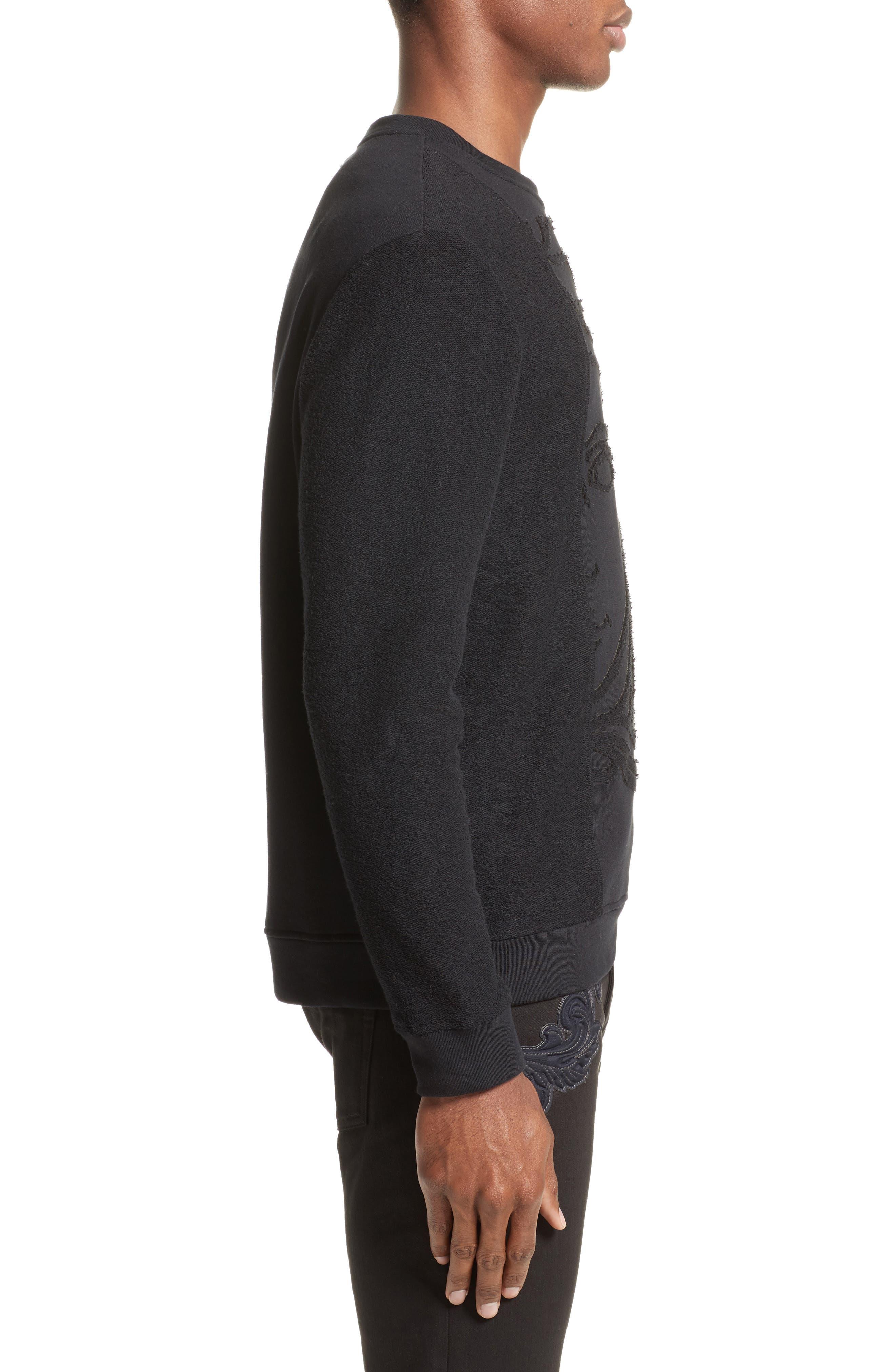 Reverse Terry Medusa Sweatshirt,                             Alternate thumbnail 3, color,                             Black