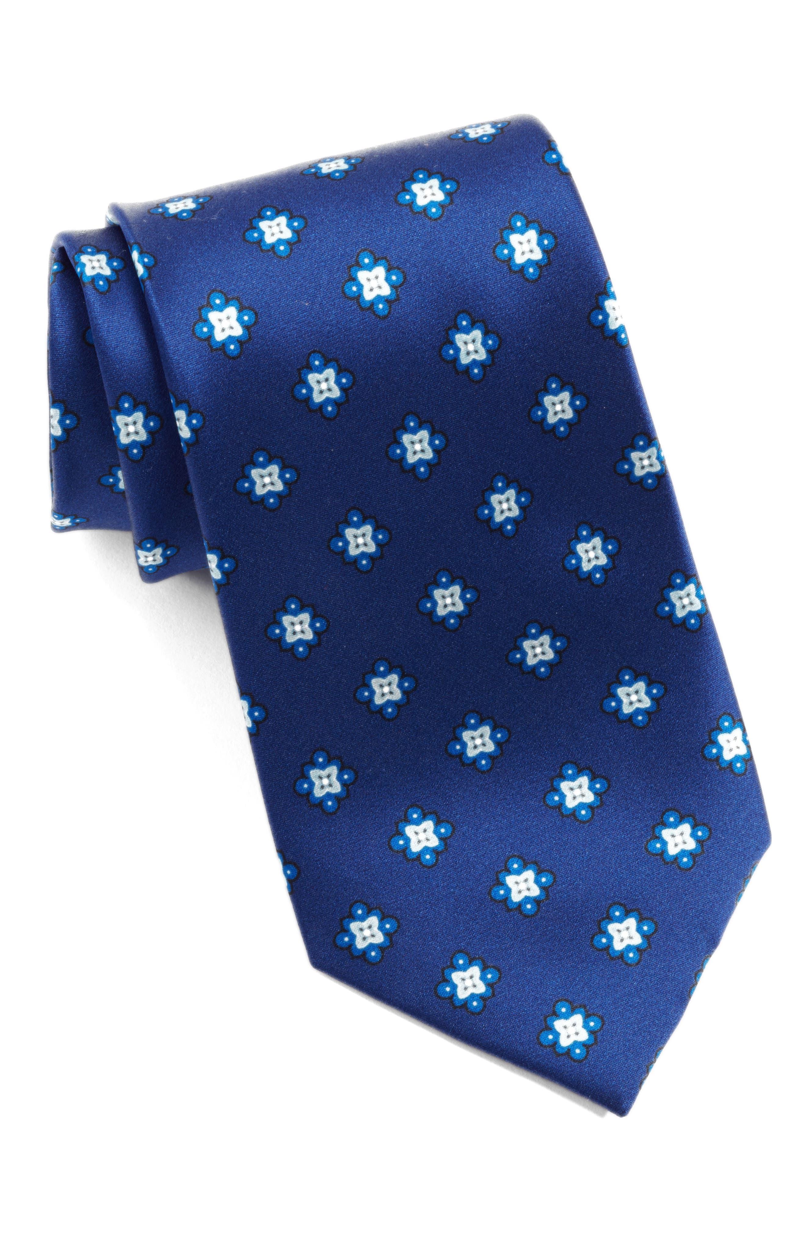 Duchess Satin Print Silk Tie,                         Main,                         color, Navy