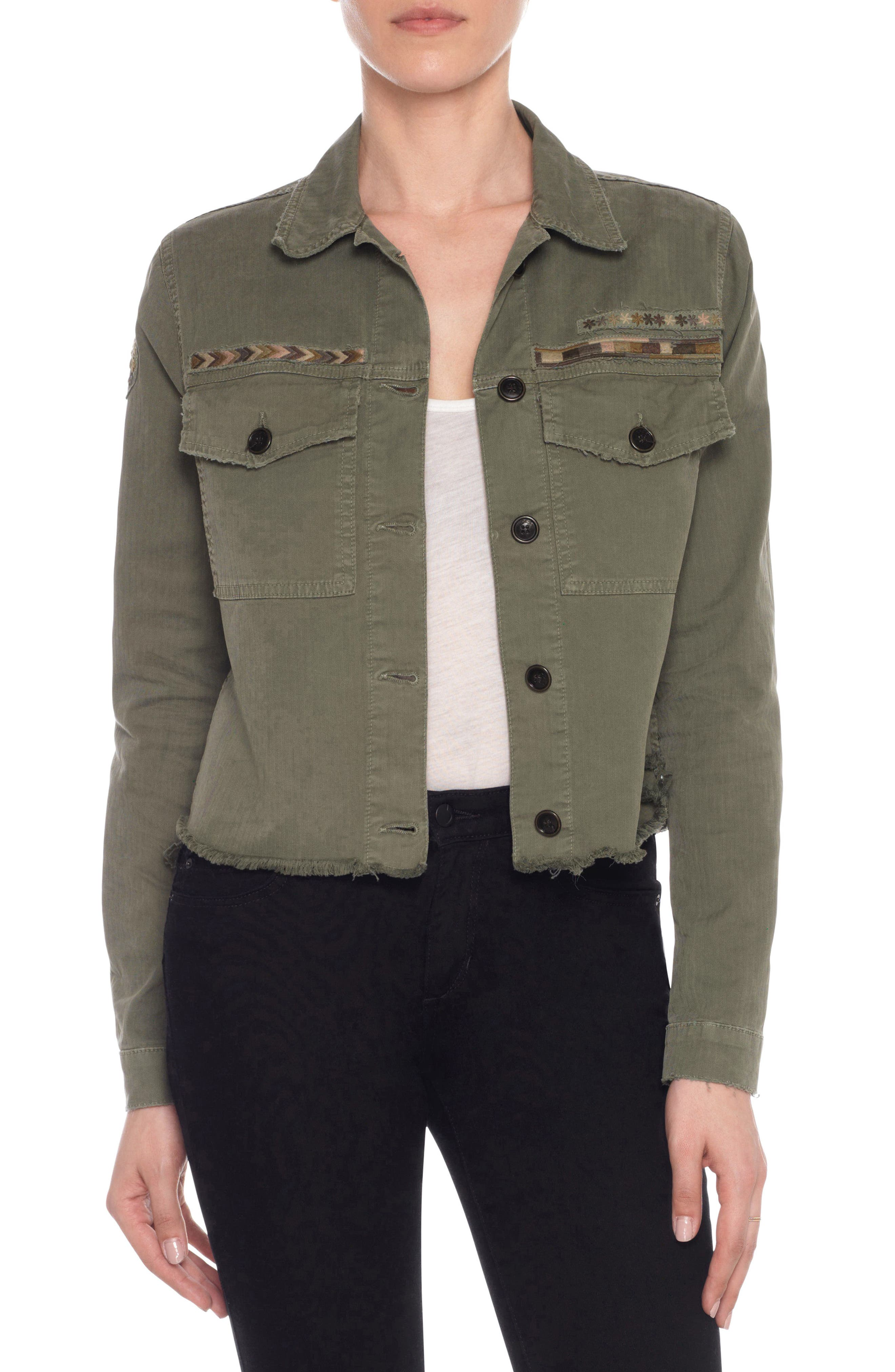 Joe's Frayed Crop Denim Flight Jacket