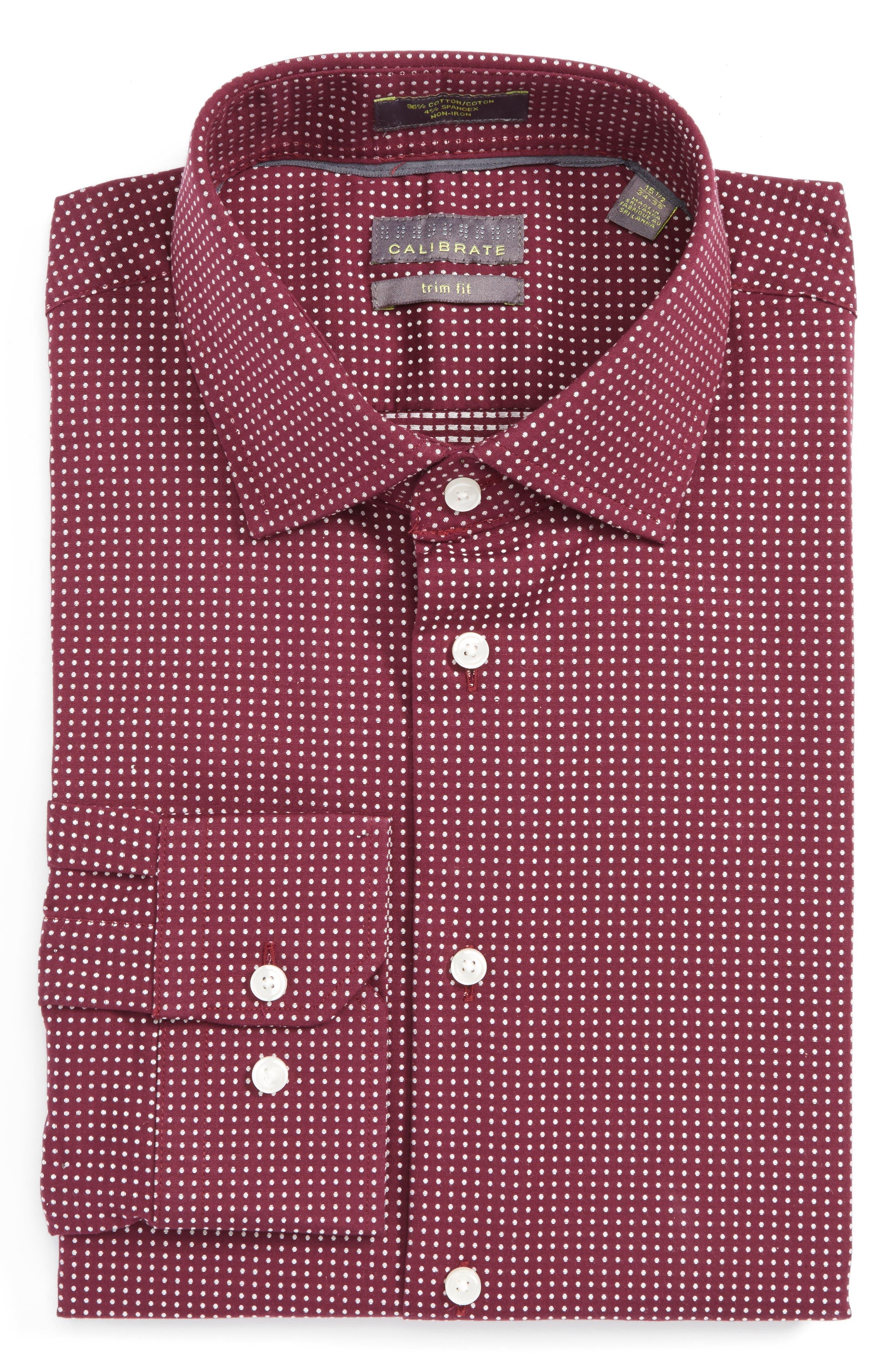 Alternate Image 1 Selected - Calibrate Trim Fit Non-Iron Dot Stretch Dress Shirt
