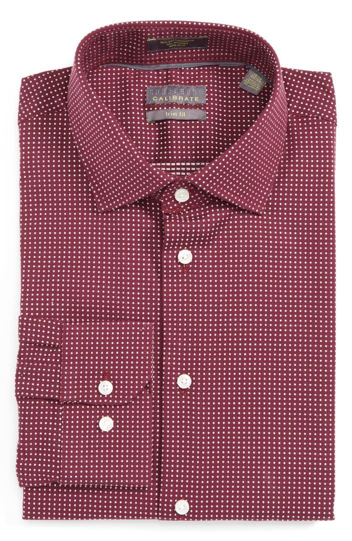 Calibrate trim fit non iron dot stretch dress shirt for How to stretch a dress shirt