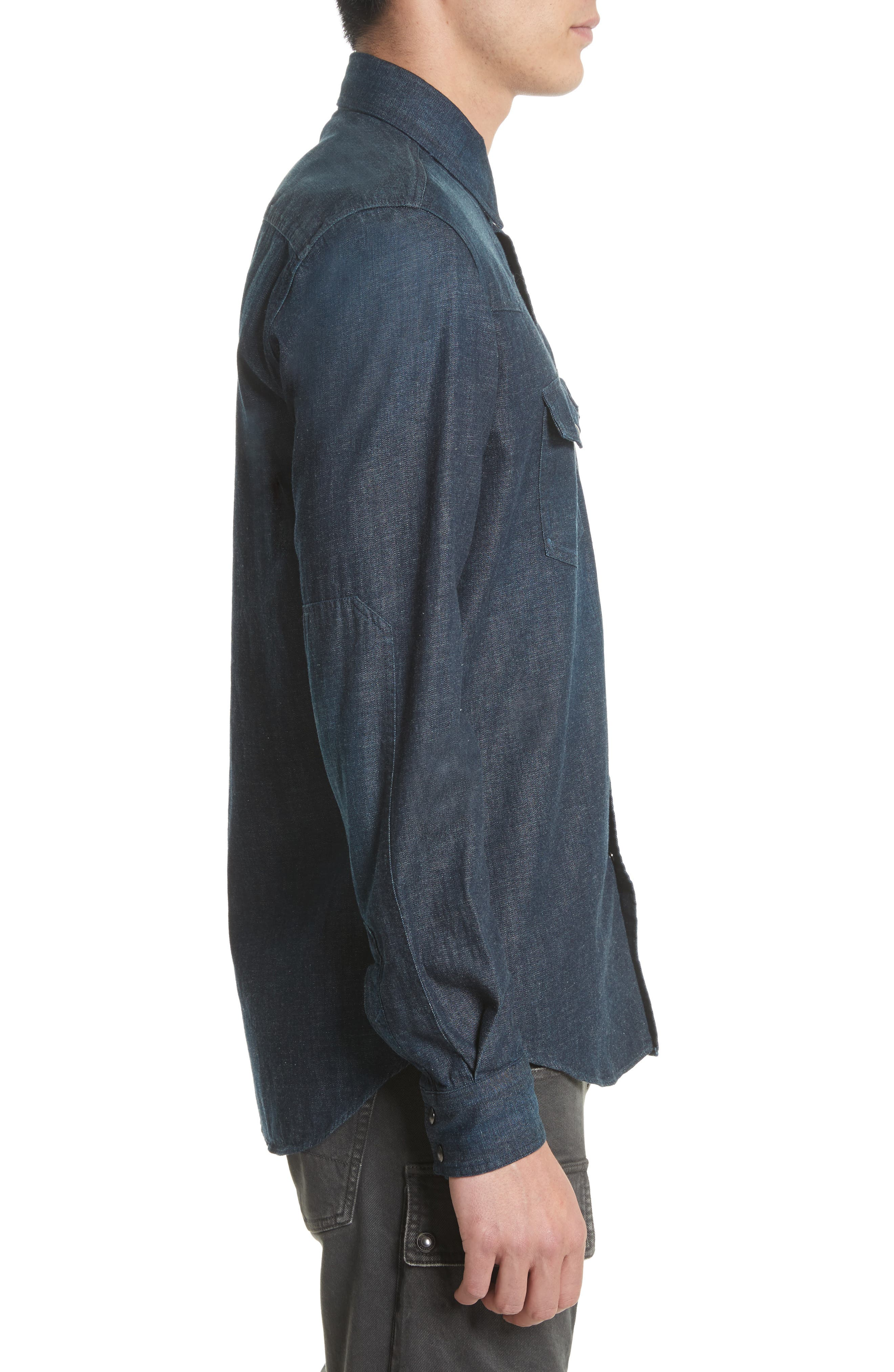 Somerford Denim Sport Shirt,                             Alternate thumbnail 3, color,                             Dark Blue
