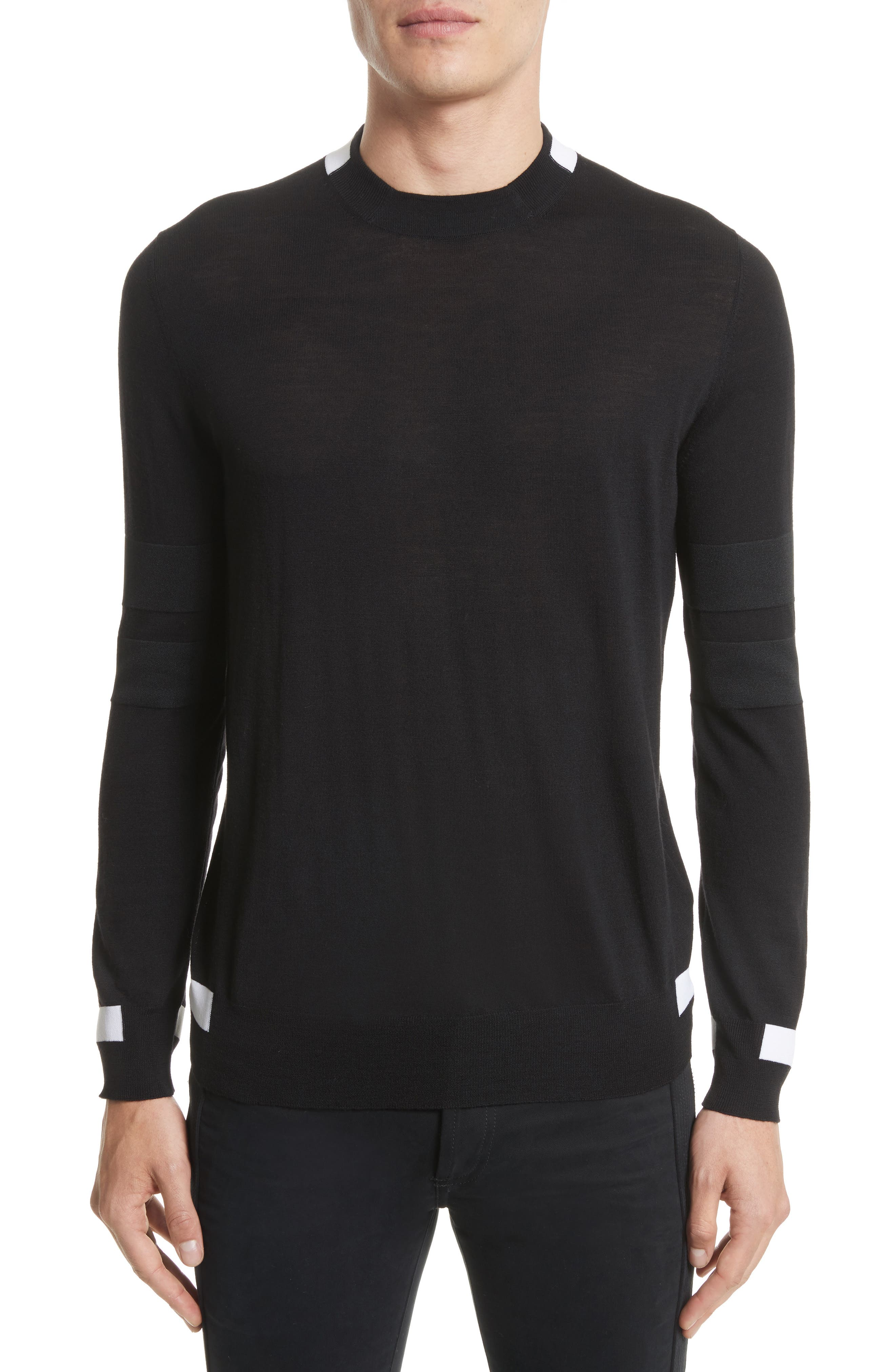 Contrast Bands Wool Sweater,                         Main,                         color, Black