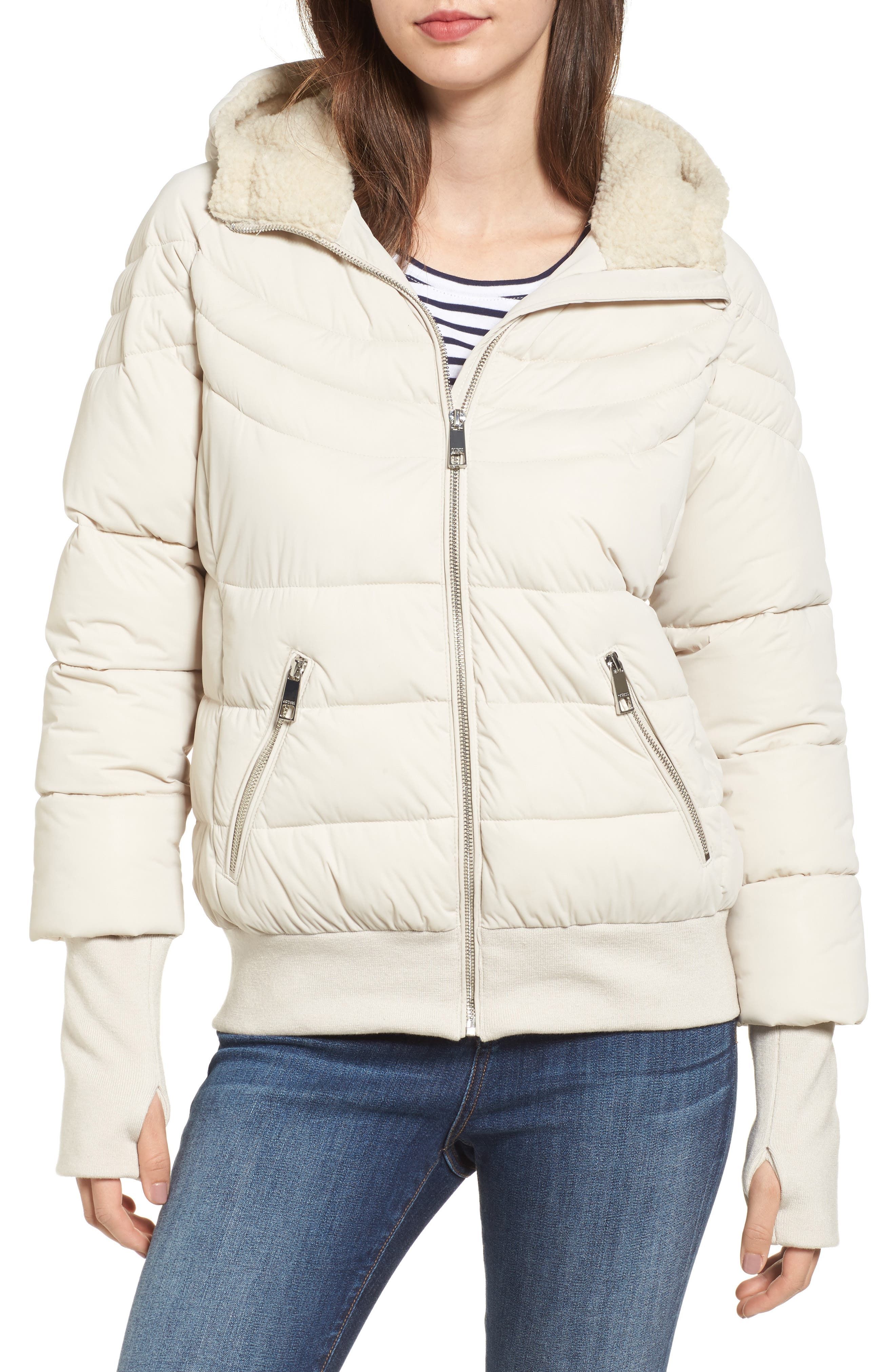 Oversize Hooded Puffer Jacket with Knit & Faux Shearling Trim,                         Main,                         color, Pearl