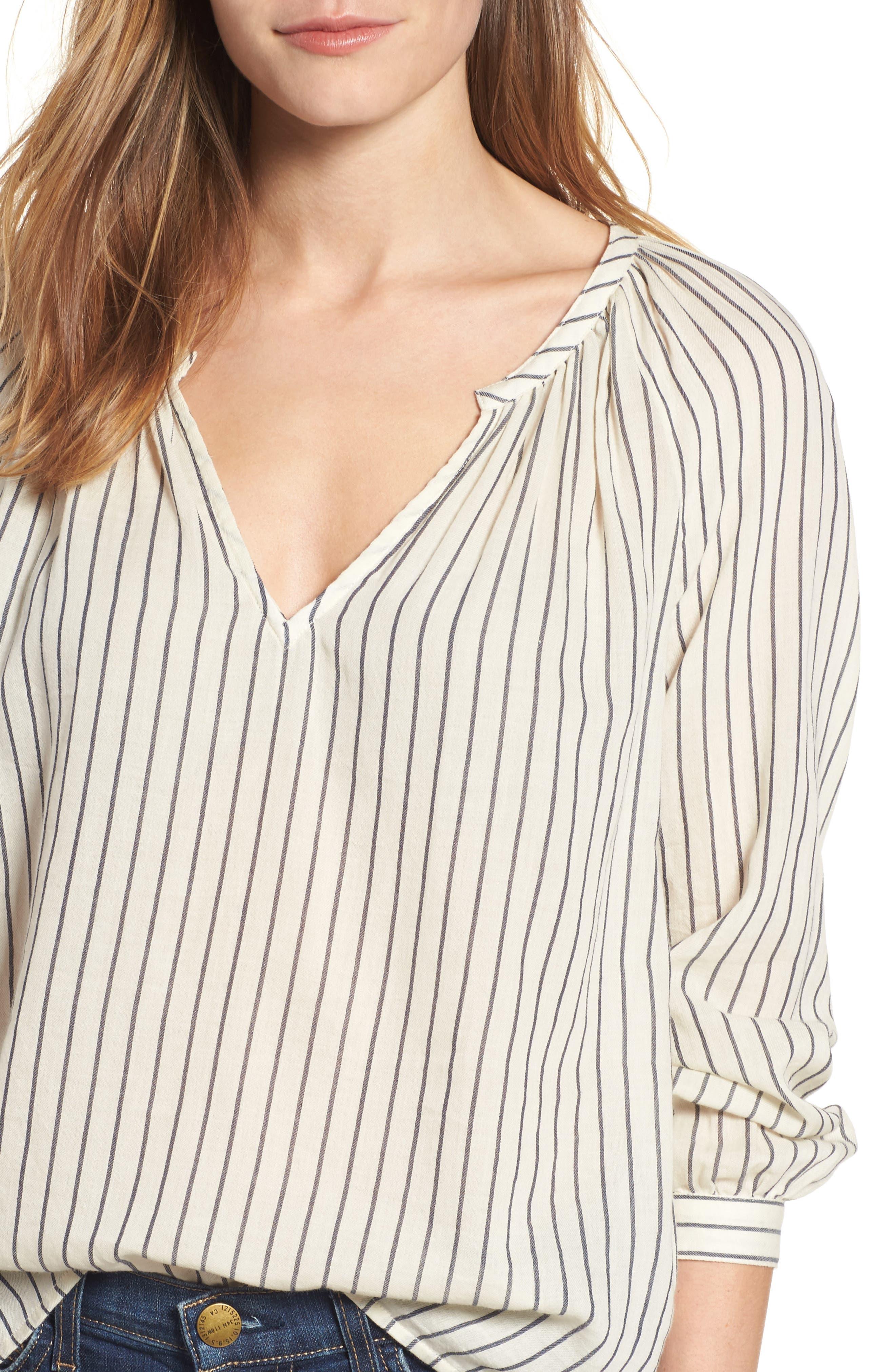Alternate Image 4  - Lucky Brand Stripe Peasant Blouse