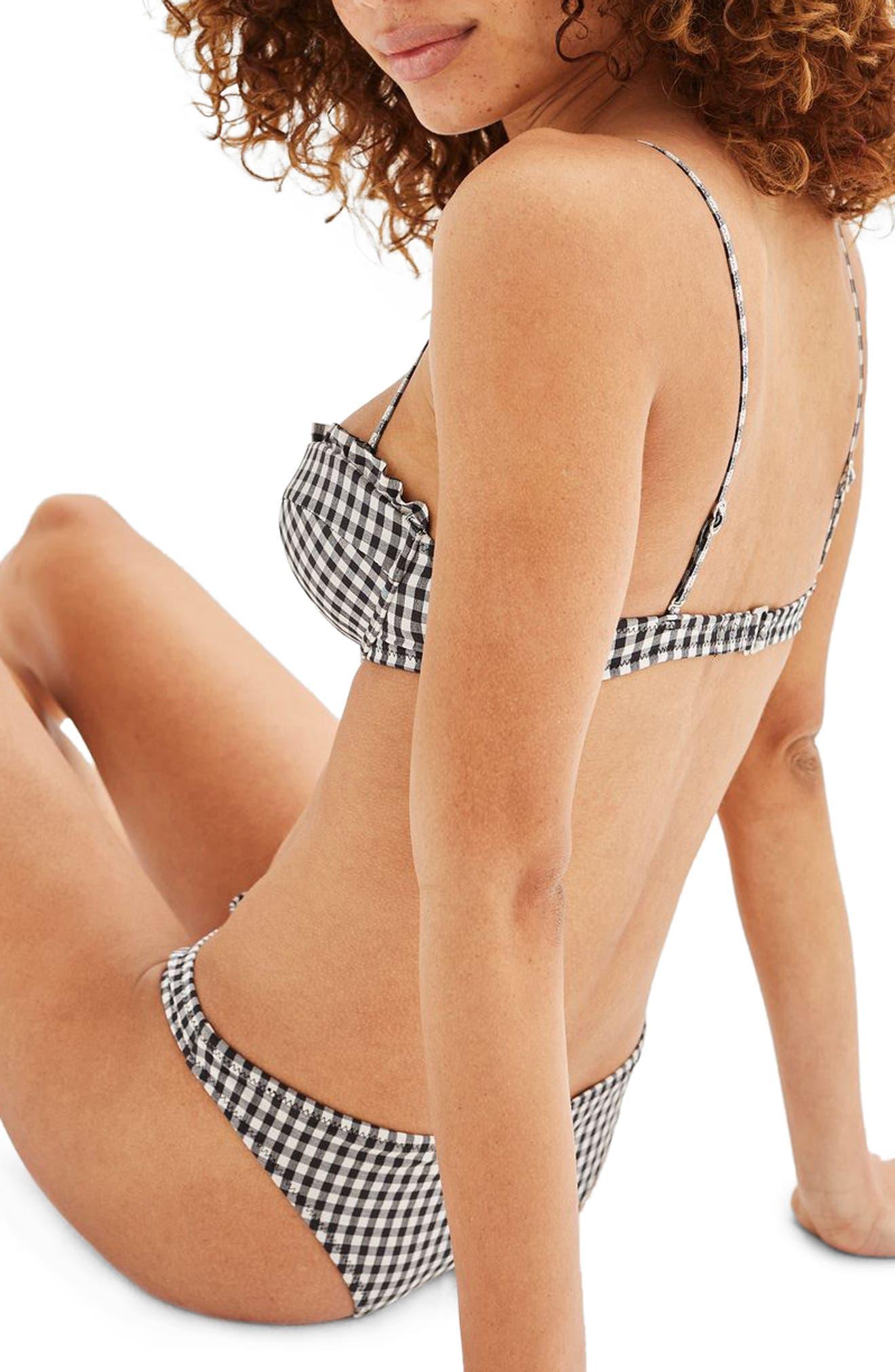 Alternate Image 2  - Topshop Ruffle Gingham Bikini Top