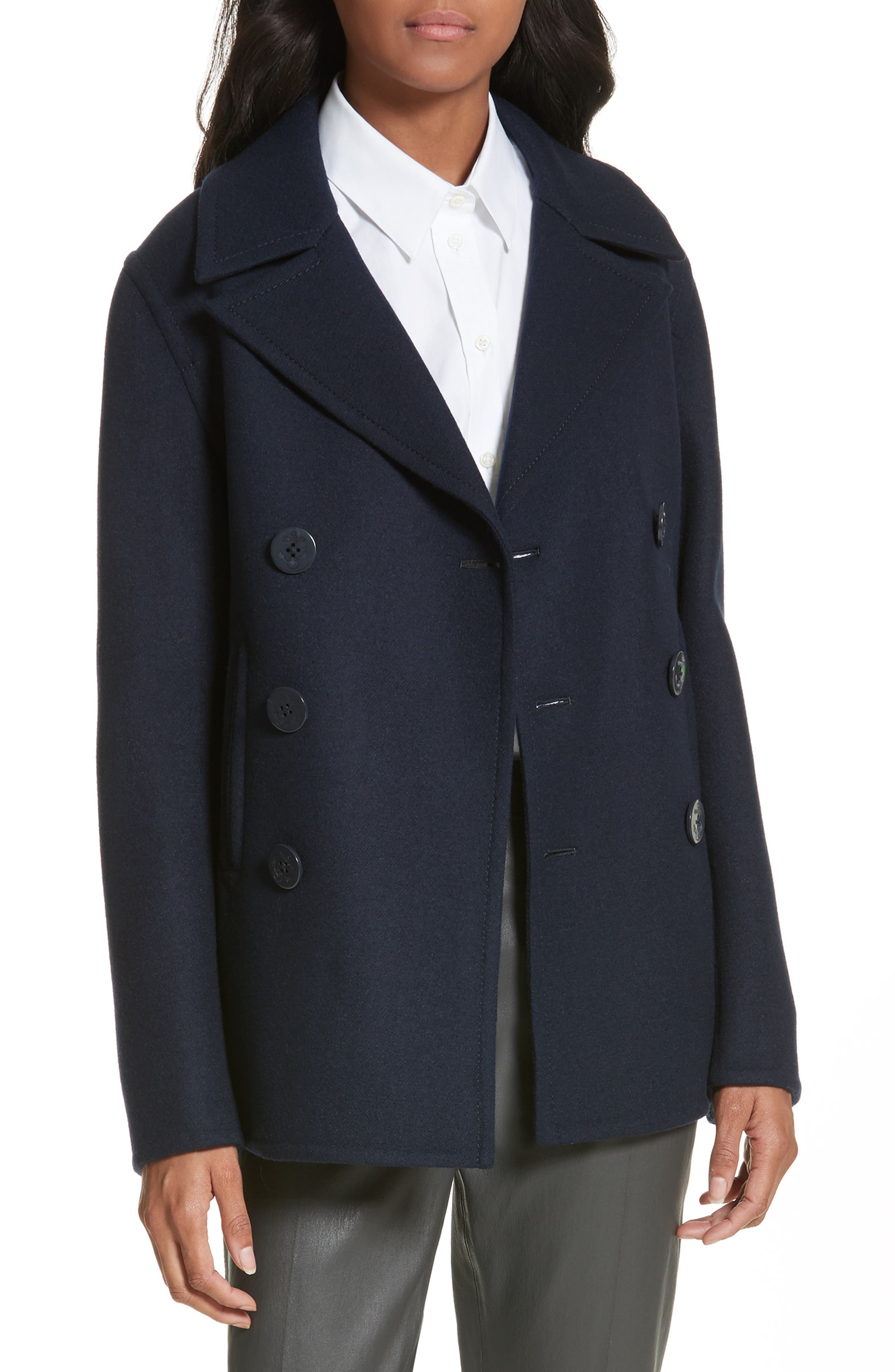 Hector Double-Breasted Peacoat,                         Main,                         color, Navy