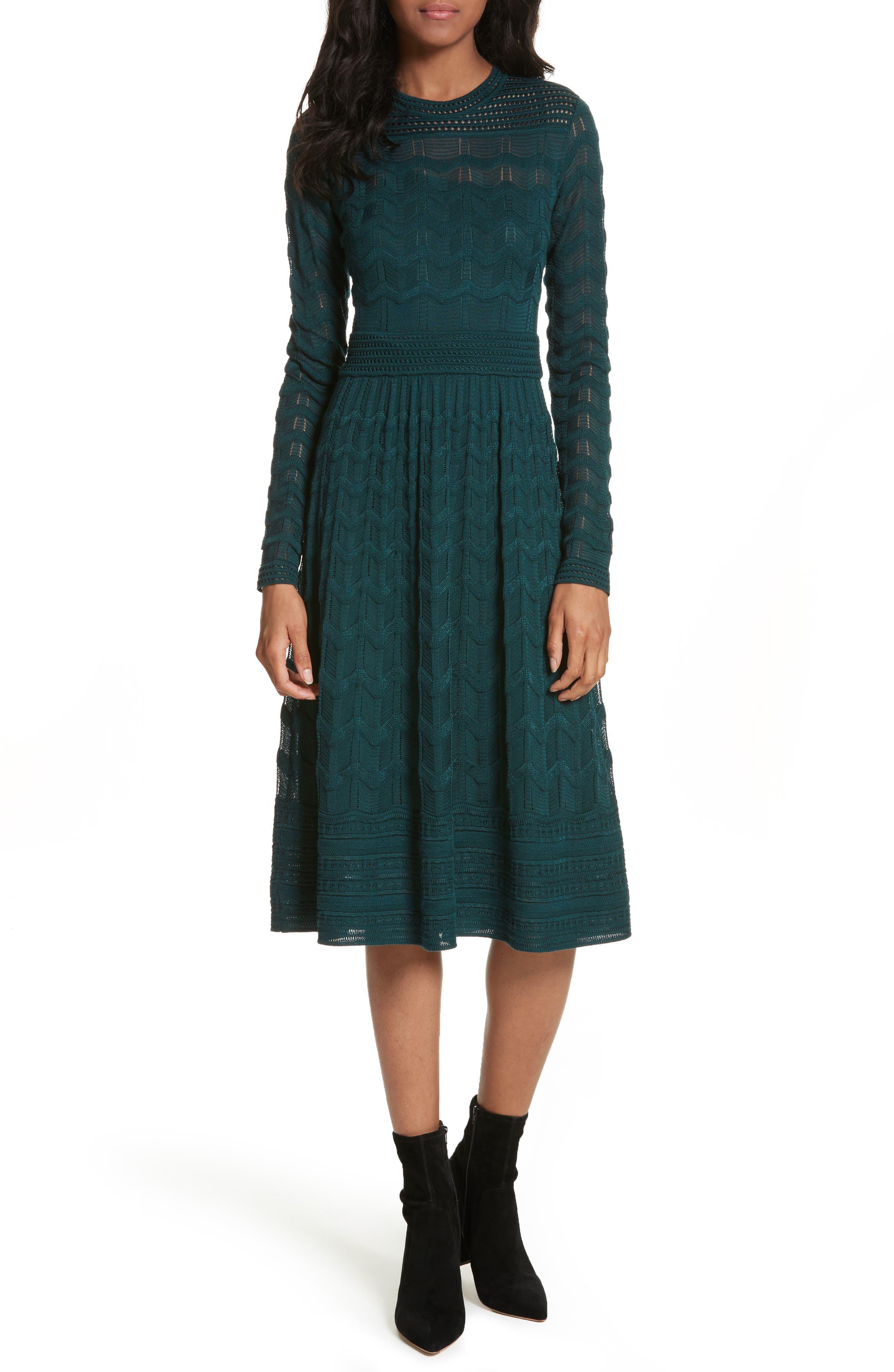 Mesh Detail A-Line Dress,                         Main,                         color, Emerald