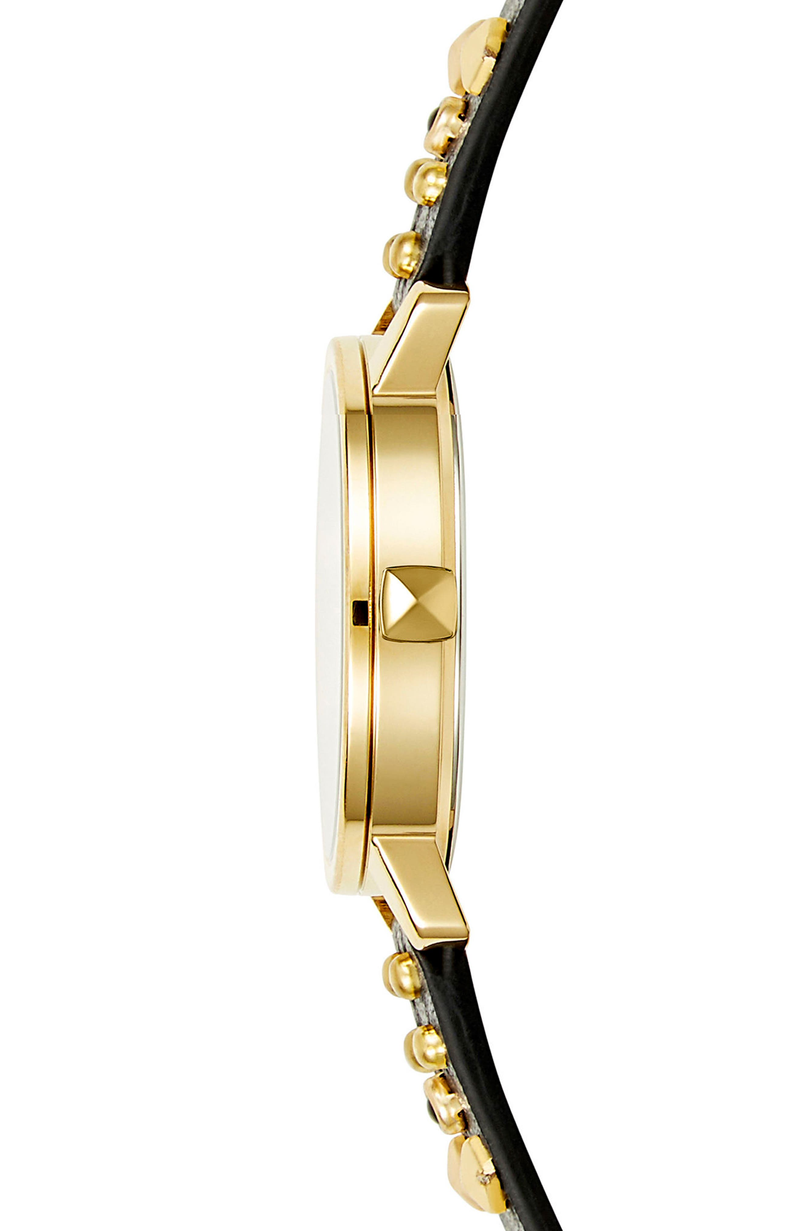 BFFL Studded Leather Strap Watch, 36mm,                             Alternate thumbnail 3, color,                             Black/ Gold