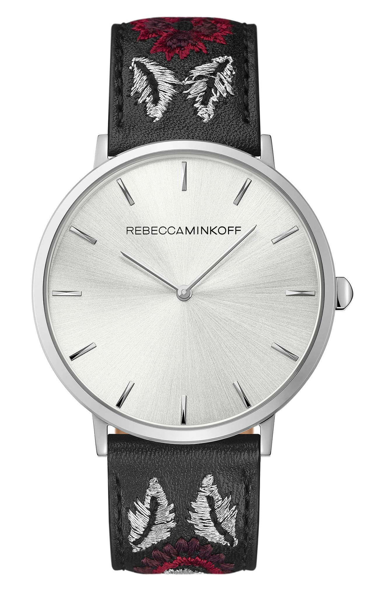 Leather Strap Watch, 40mm,                             Main thumbnail 1, color,                             Black Multi/ Silver White
