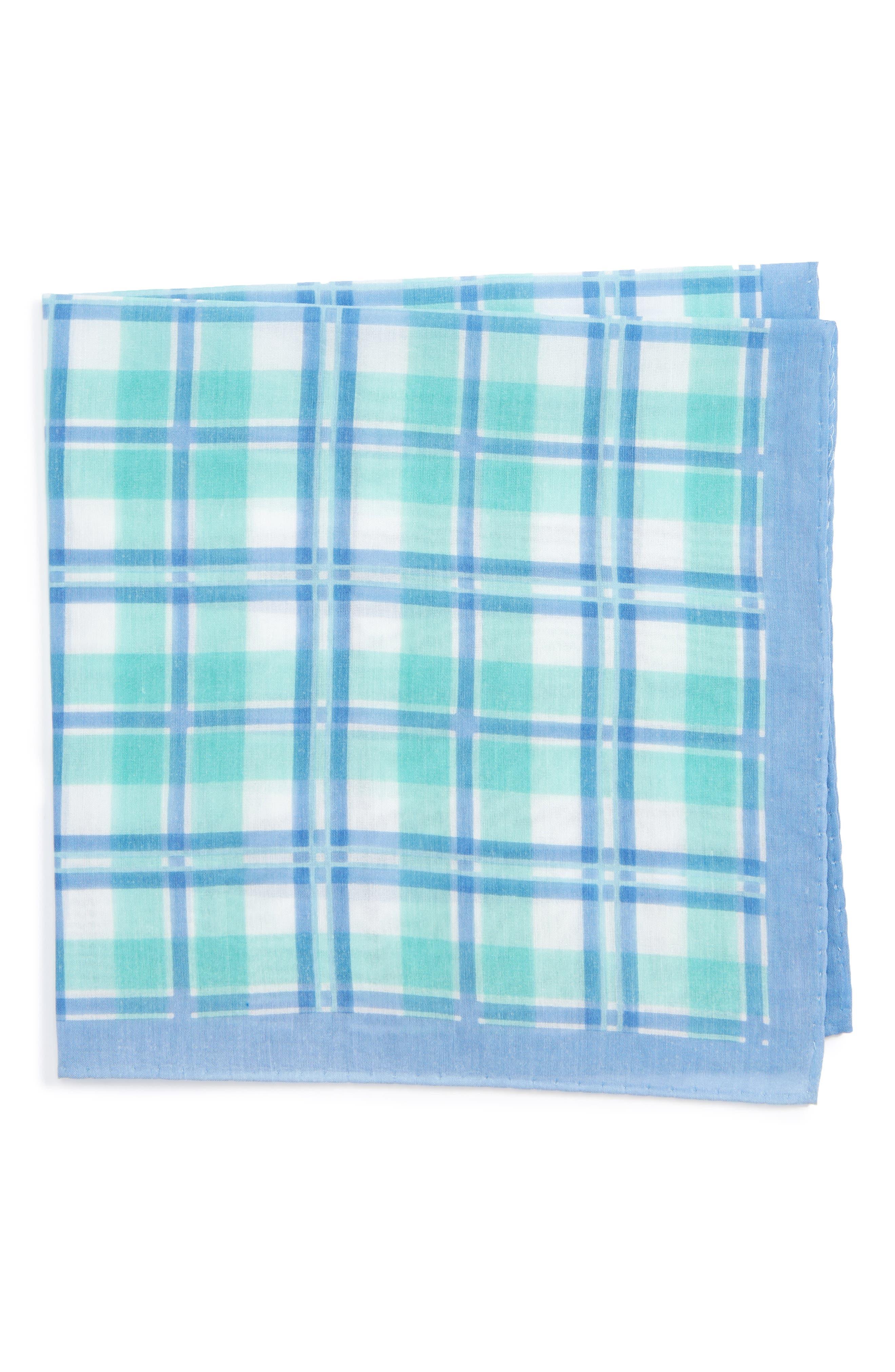NORDSTROM MENS SHOP Leoni Plaid Silk & Cotton Pocket Square