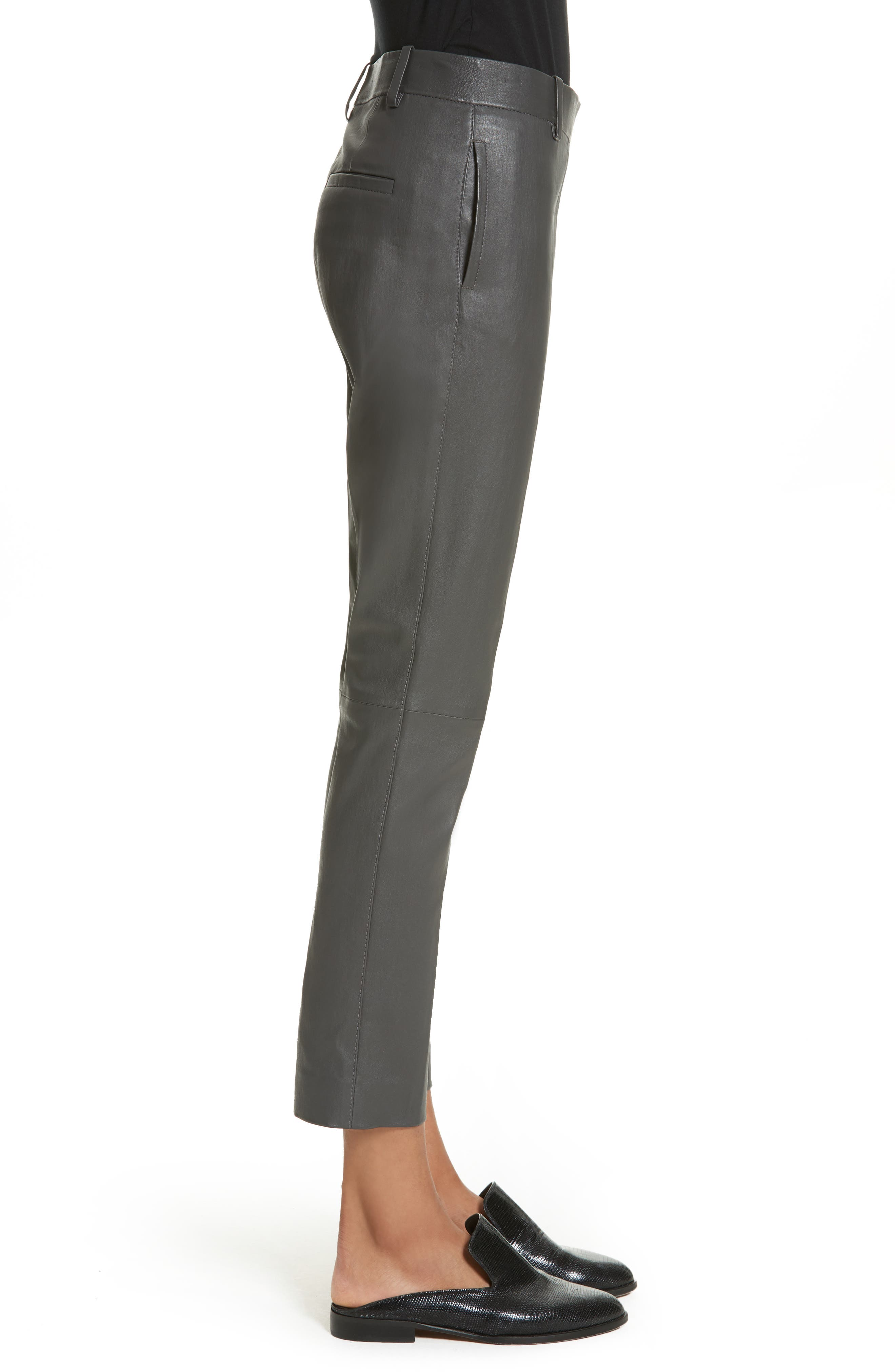 Stretch Zoom Leather Straight Leg Pants,                             Alternate thumbnail 4, color,                             Graphite