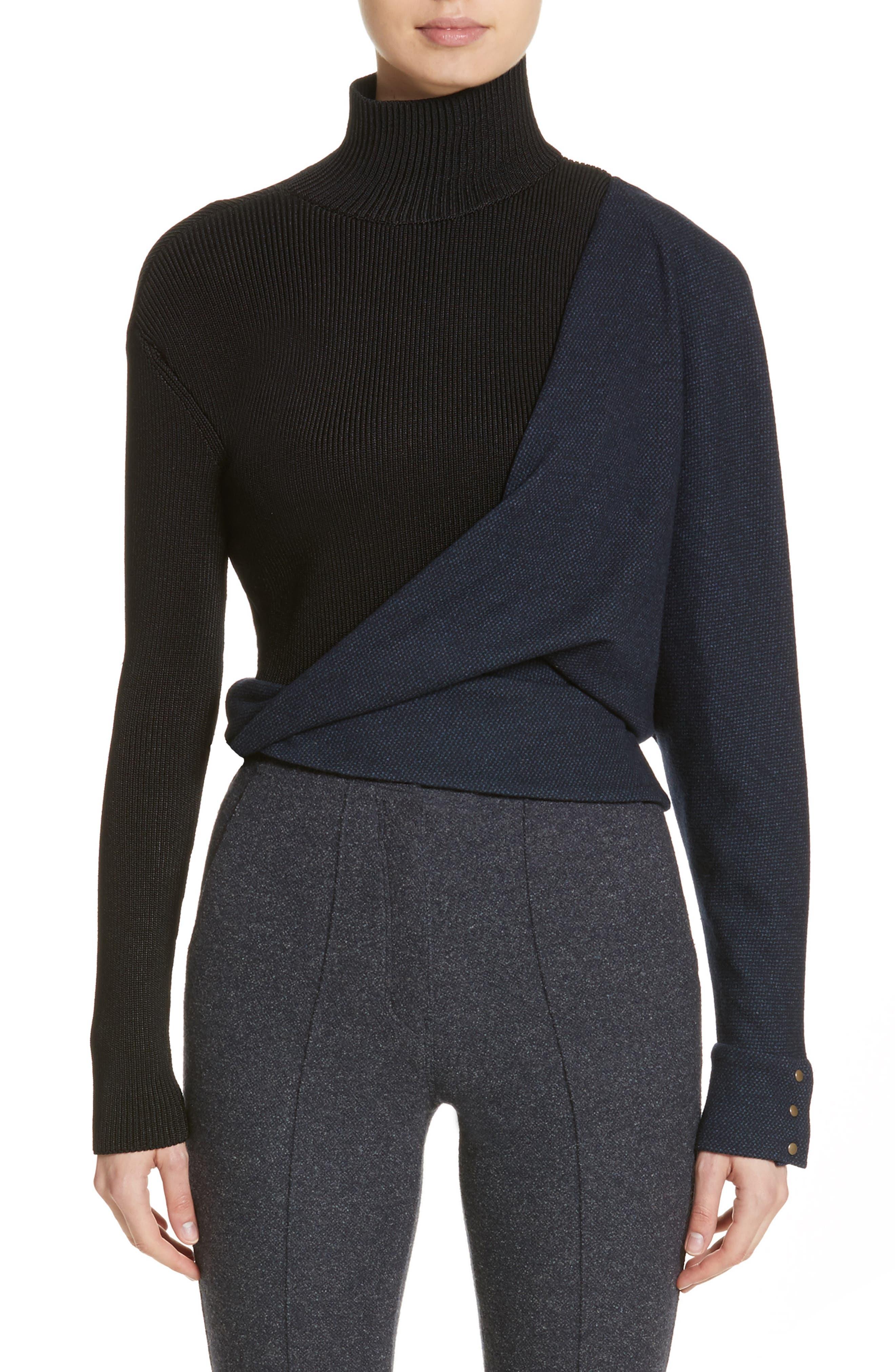 Tweed Jersey & Knit Turtleneck Sweater,                         Main,                         color, Blue Black
