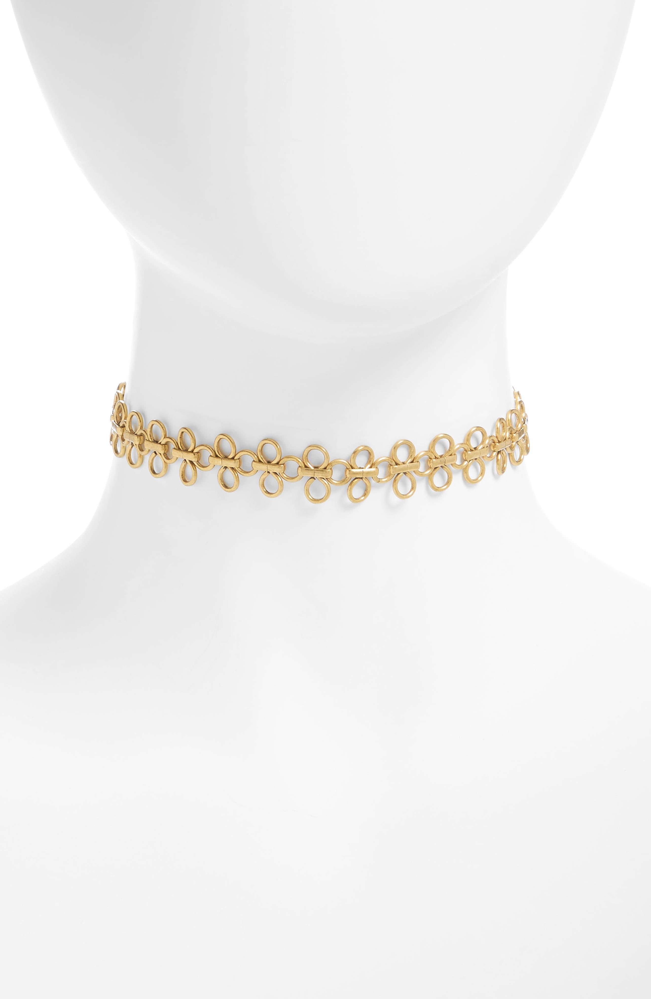 Lace Link Choker Necklace,                         Main,                         color, Gold