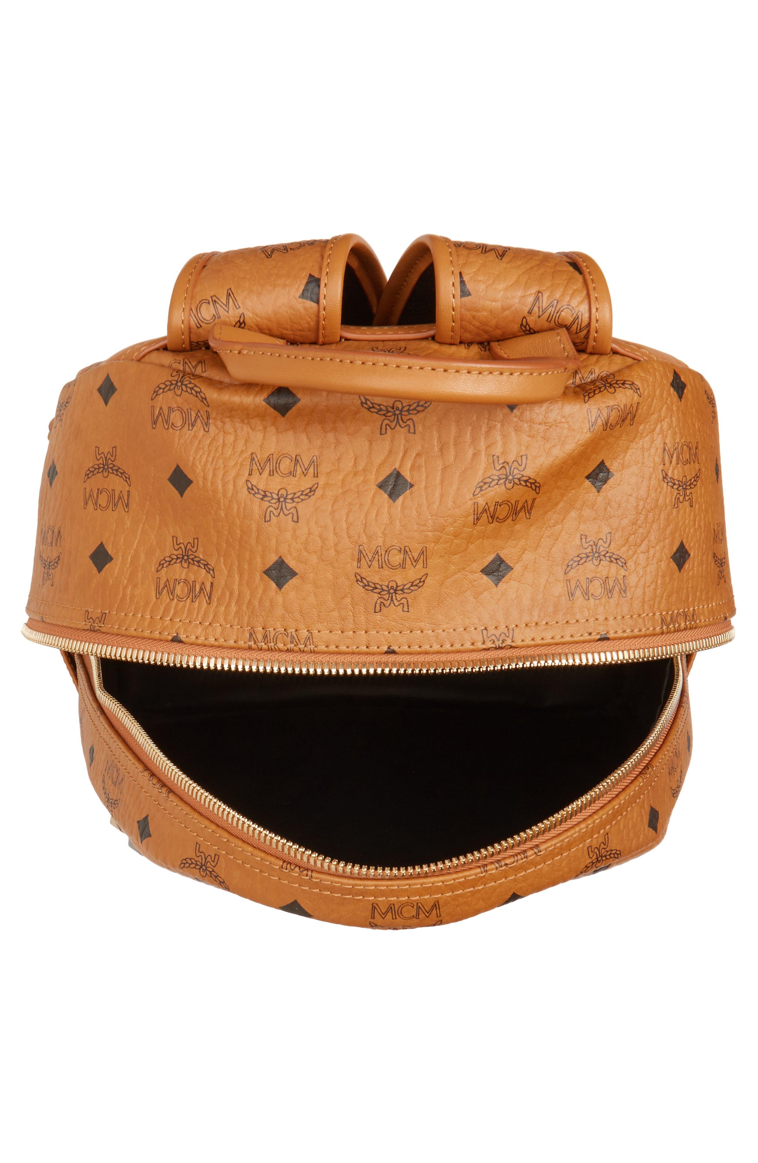 Alternate Image 4  - MCM Medium Stark - Visetos Studded Logo Backpack