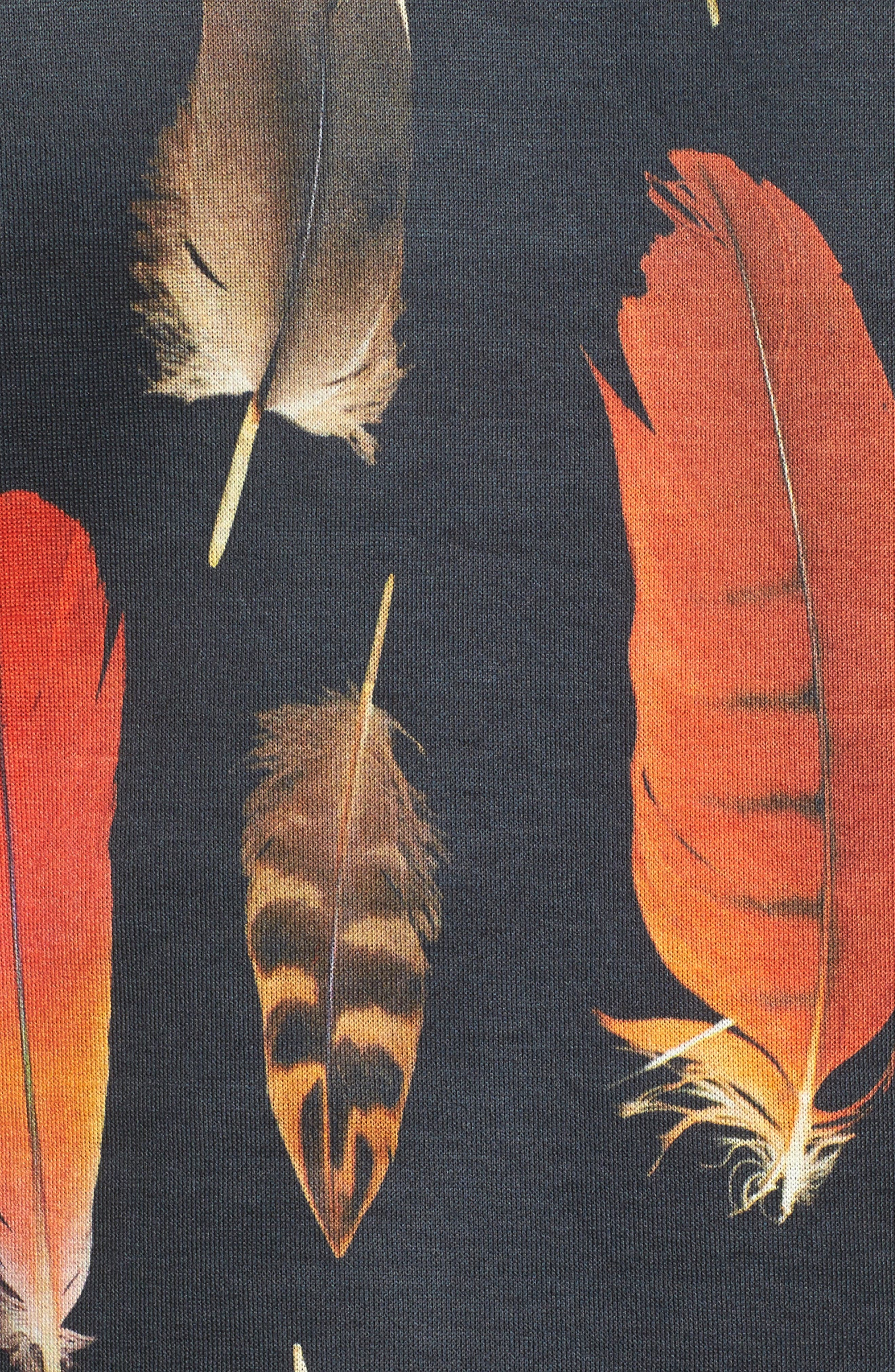Feather Print T-Shirt,                             Alternate thumbnail 5, color,                             Black