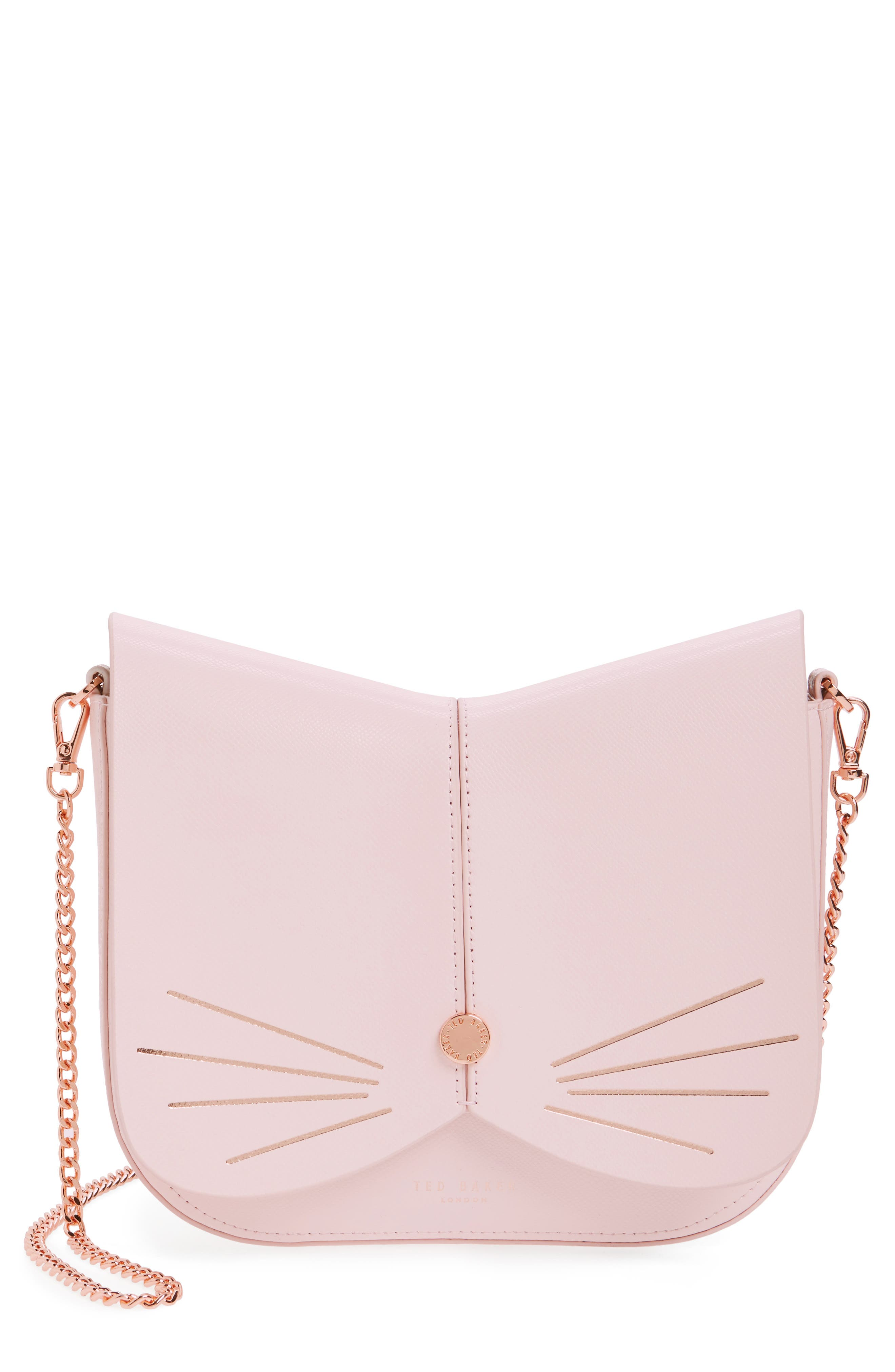 Cat Leather Crossbody Bag,                         Main,                         color, Baby Pink