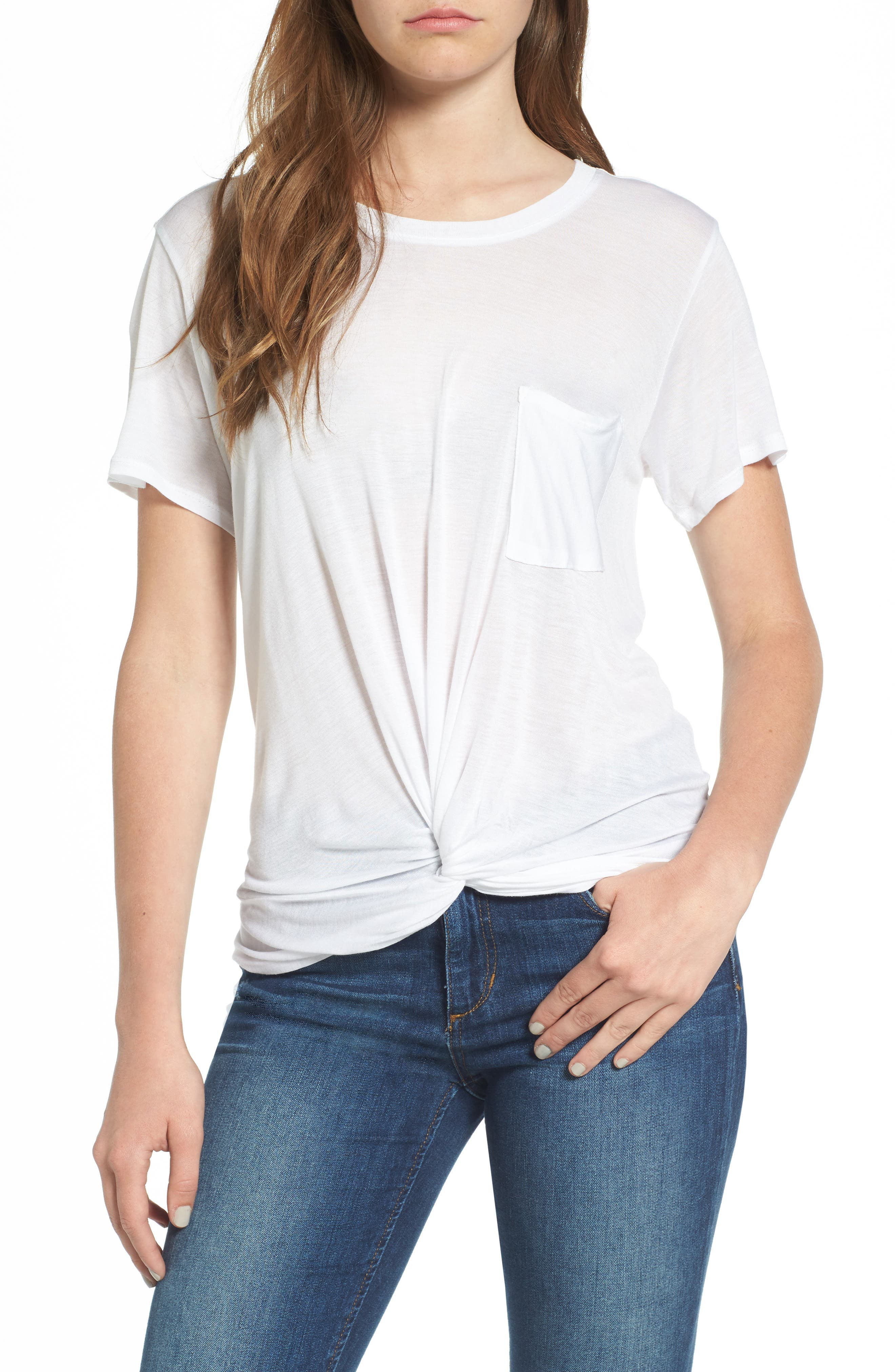 Twist Hem Tee,                         Main,                         color, White