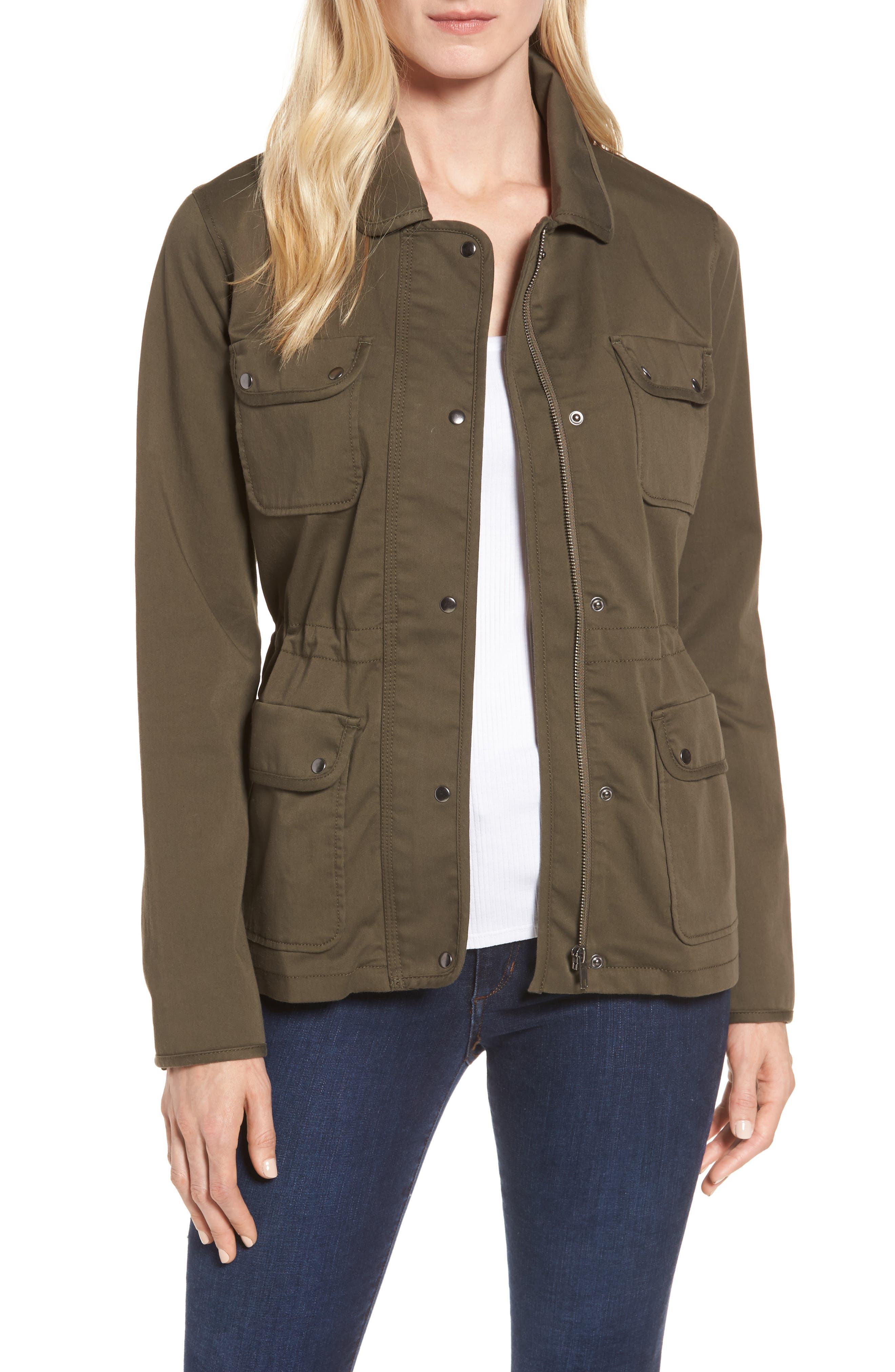 Sateen Utility Jacket,                         Main,                         color, Olive Grove
