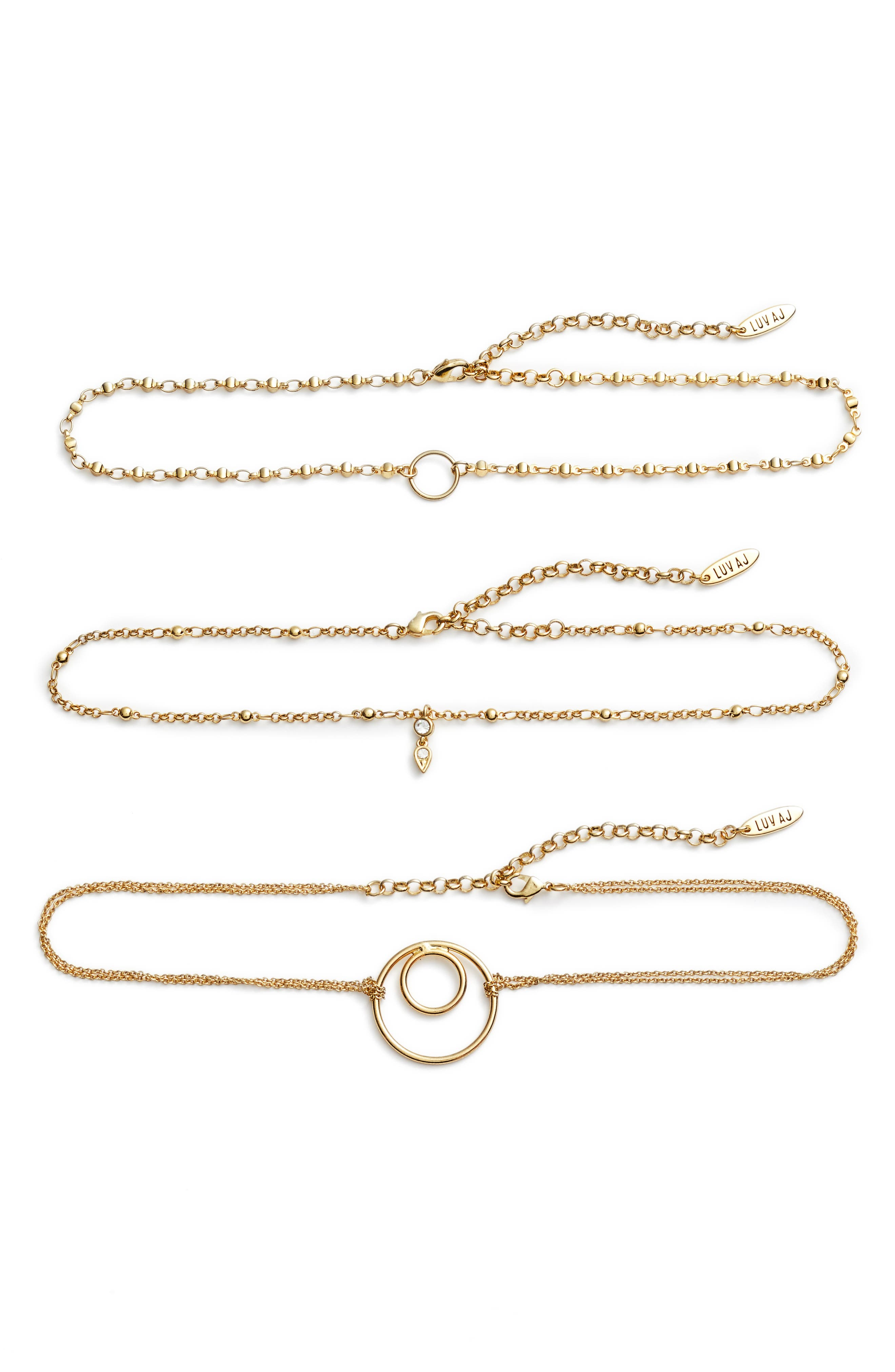LUV AJ Trinity Set of Three Choker Necklaces