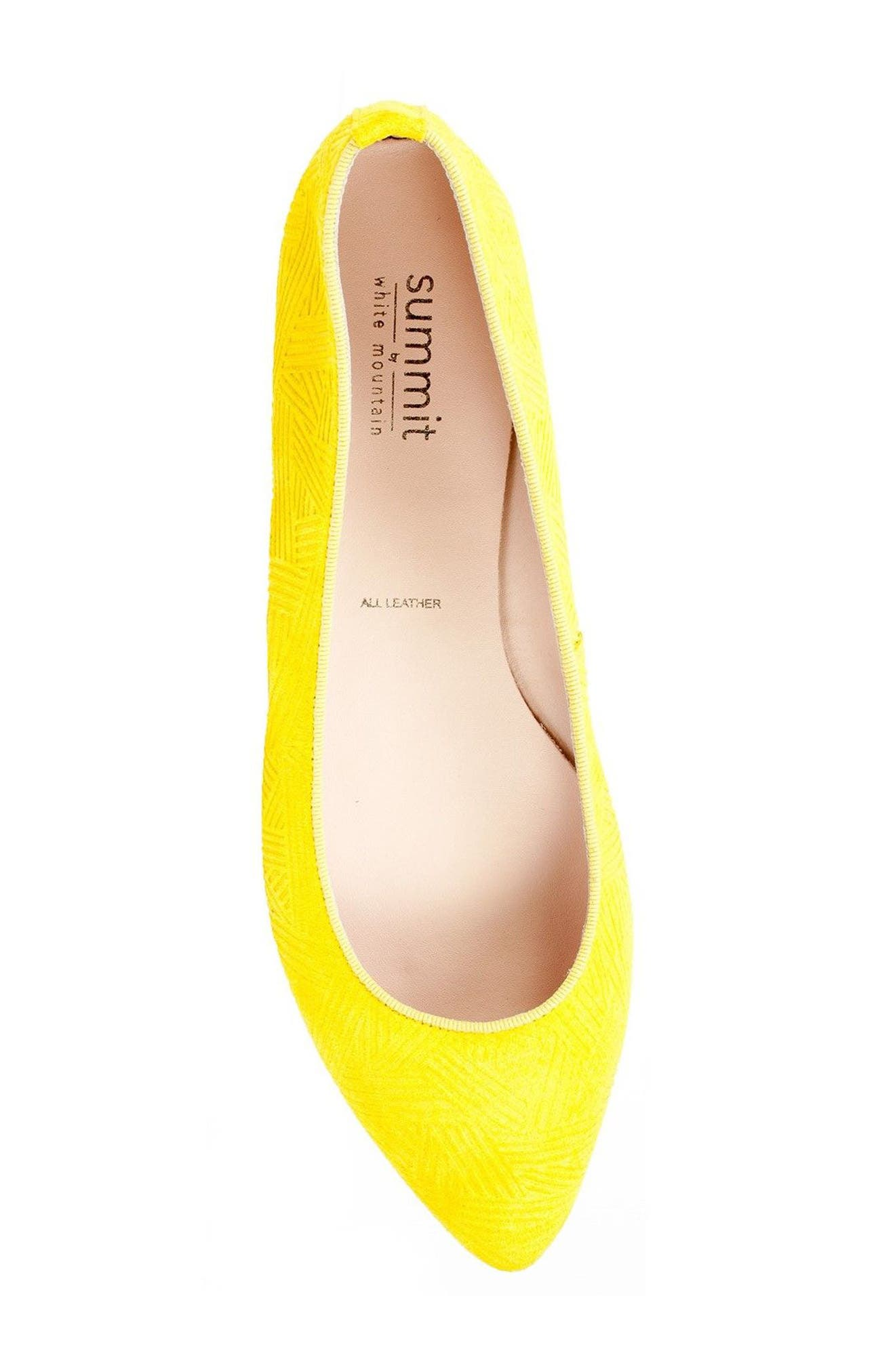 'Kamora' Pointy Toe Flat,                             Alternate thumbnail 3, color,                             Yellow Suede