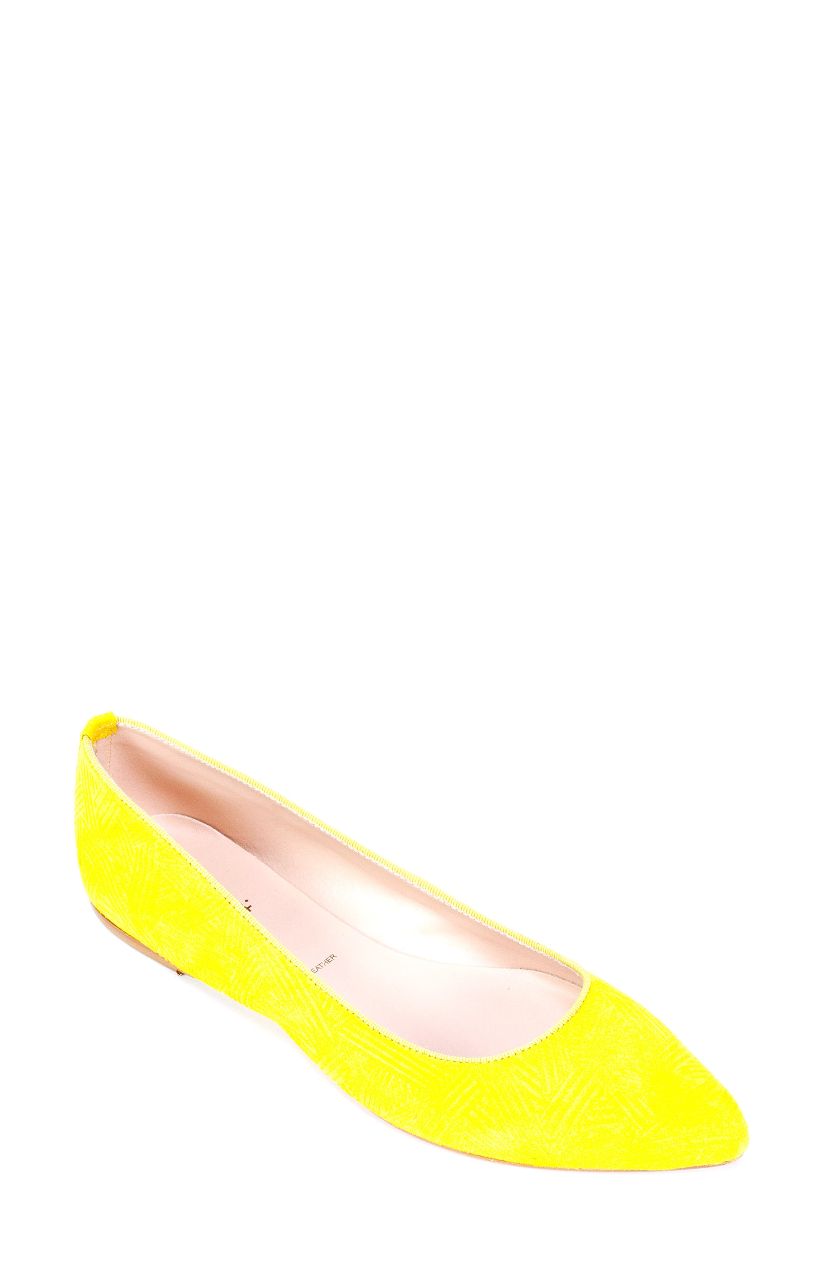 'Kamora' Pointy Toe Flat,                             Main thumbnail 1, color,                             Yellow Suede