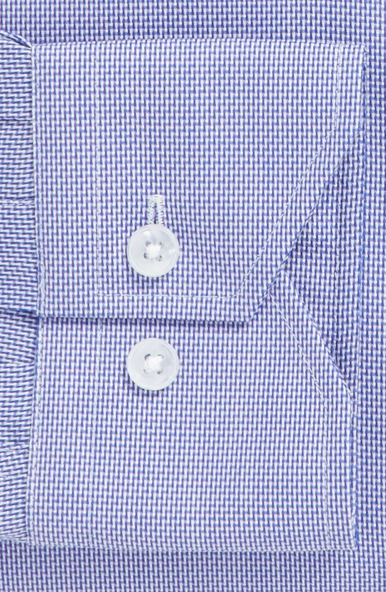 Trim Fit Solid Dress Shirt,                             Alternate thumbnail 3, color,                             Navy