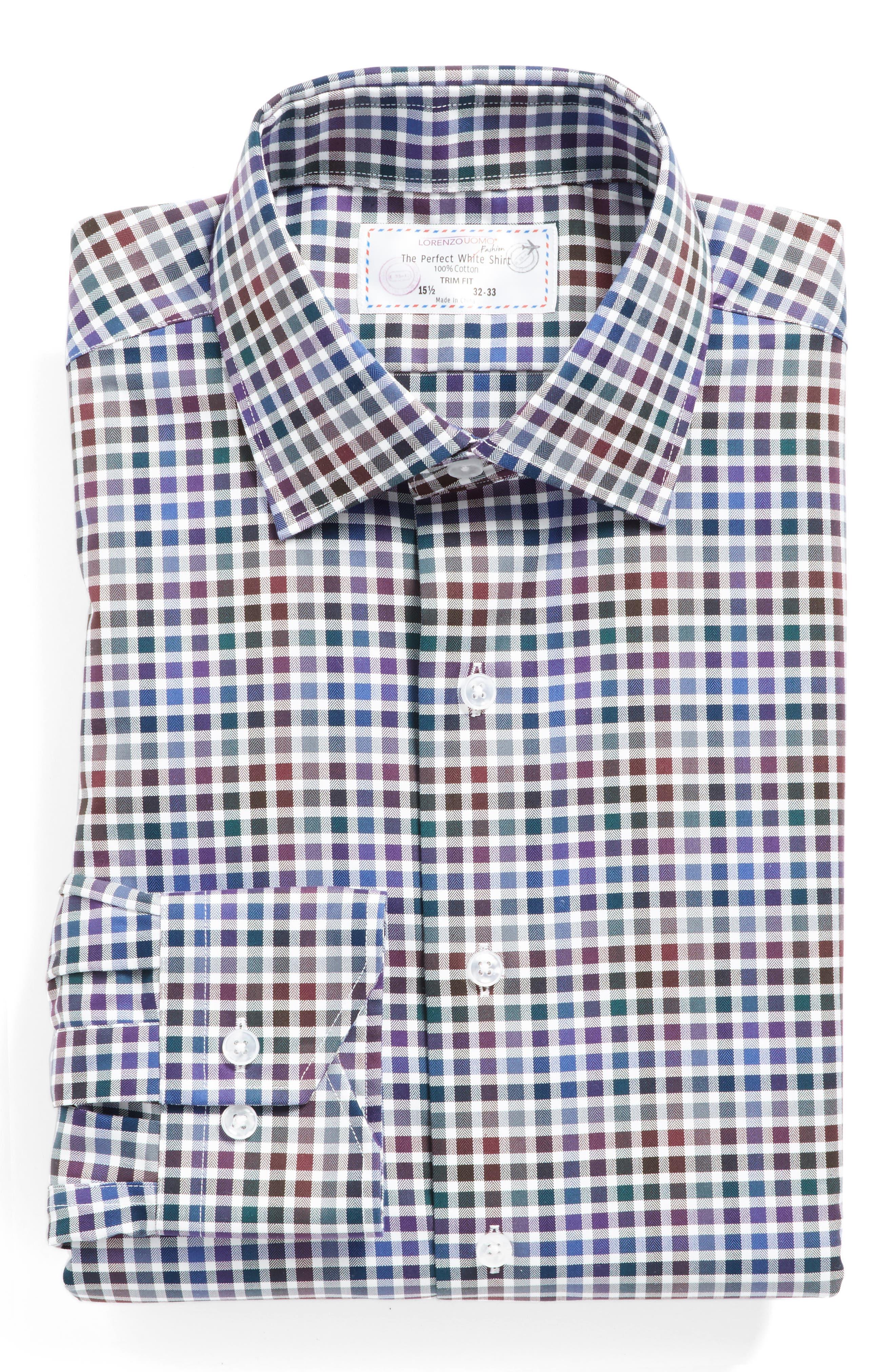 Main Image - Lorenzo Uomo Trim Fit Check Dress Shirt