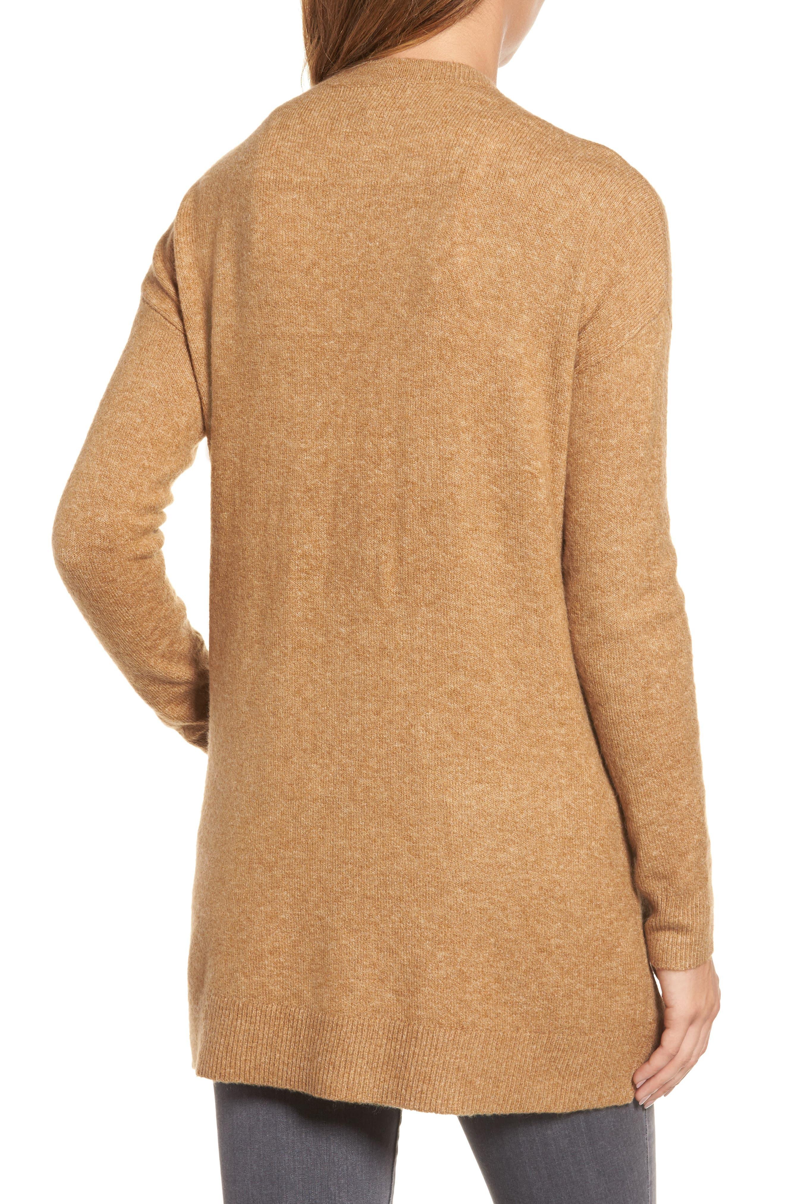 Alternate Image 2  - Halogen® Long Sleeve V-Neck Cardigan (Regular & Petite)