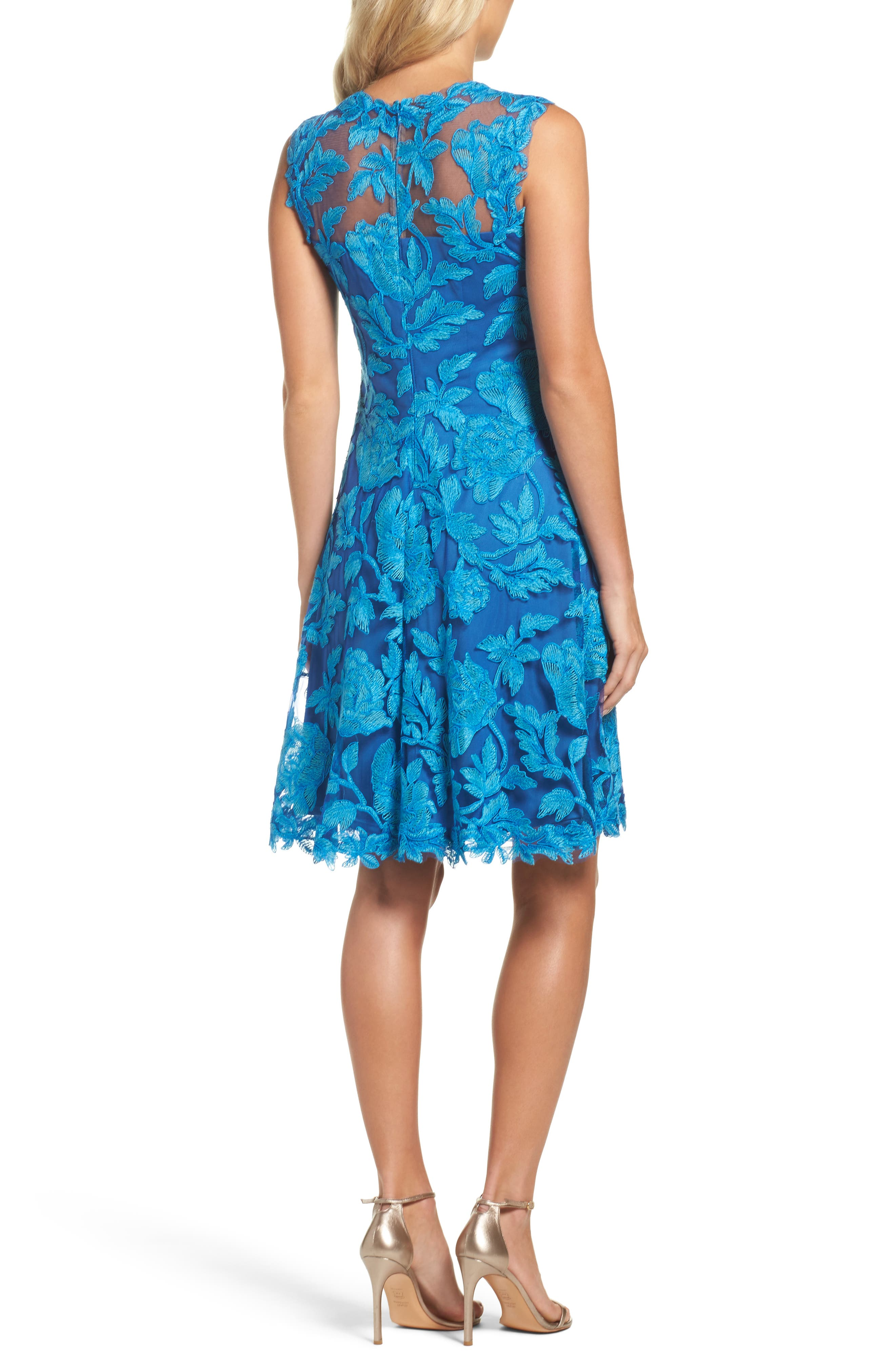 Noelle Floral Fit & Flare Dress,                             Alternate thumbnail 2, color,                             Blue Topaz