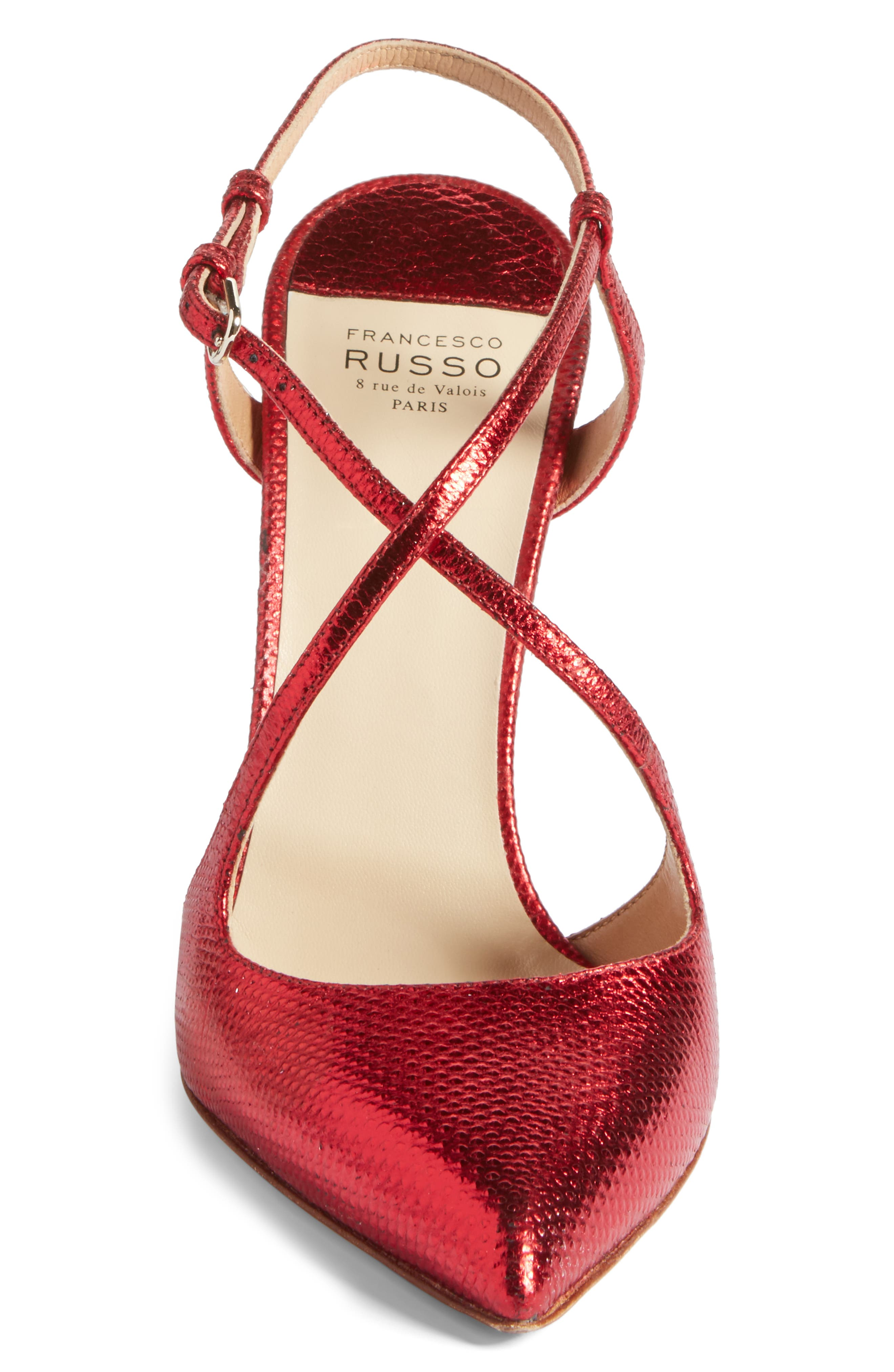 Alternate Image 4  - Francesco Russo Criss Cross Genuine Snakeskin Pump (Women)