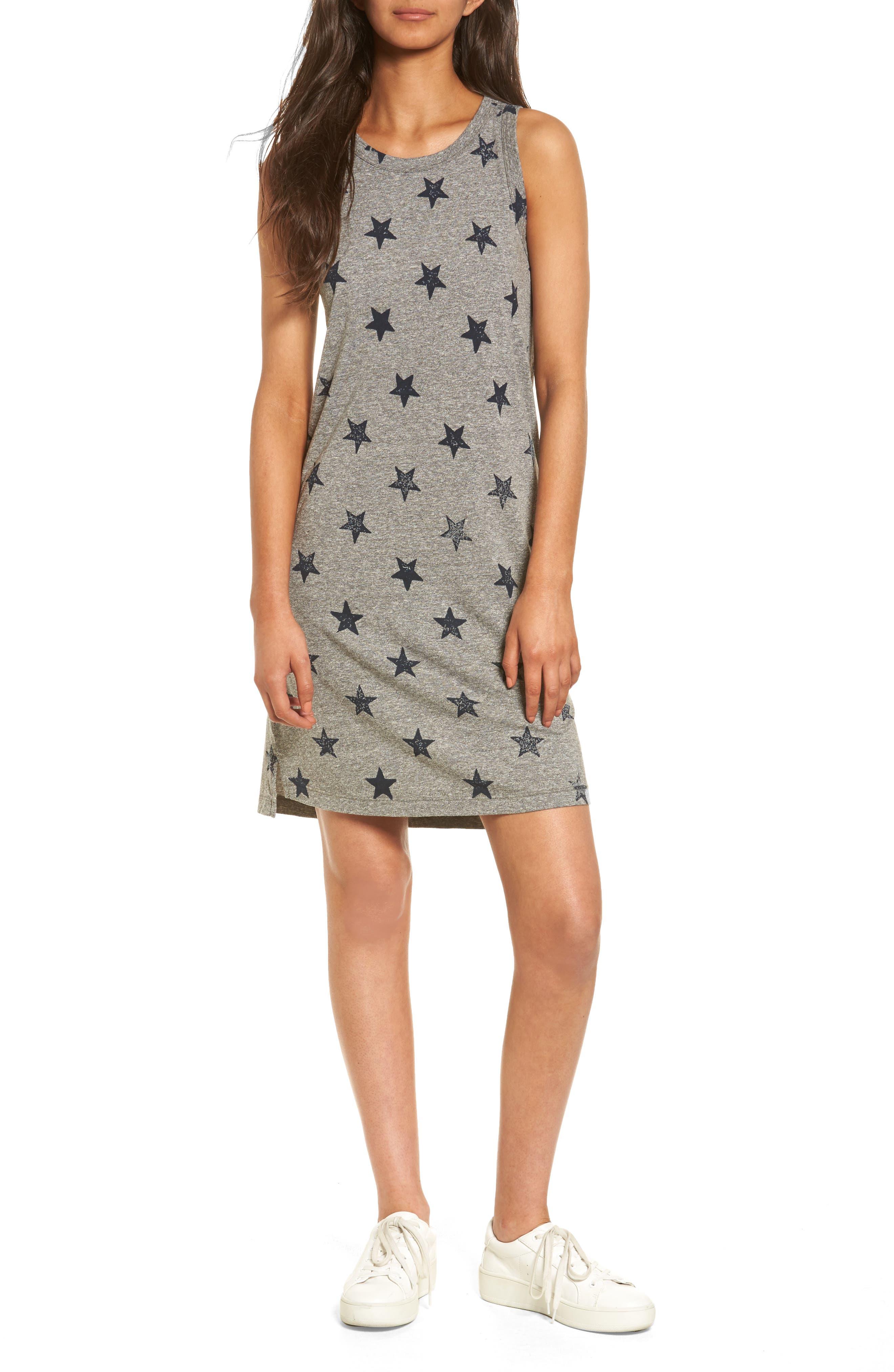 The Muscle Tee Dress,                         Main,                         color, Heather Grey W/ Big Navy Stars